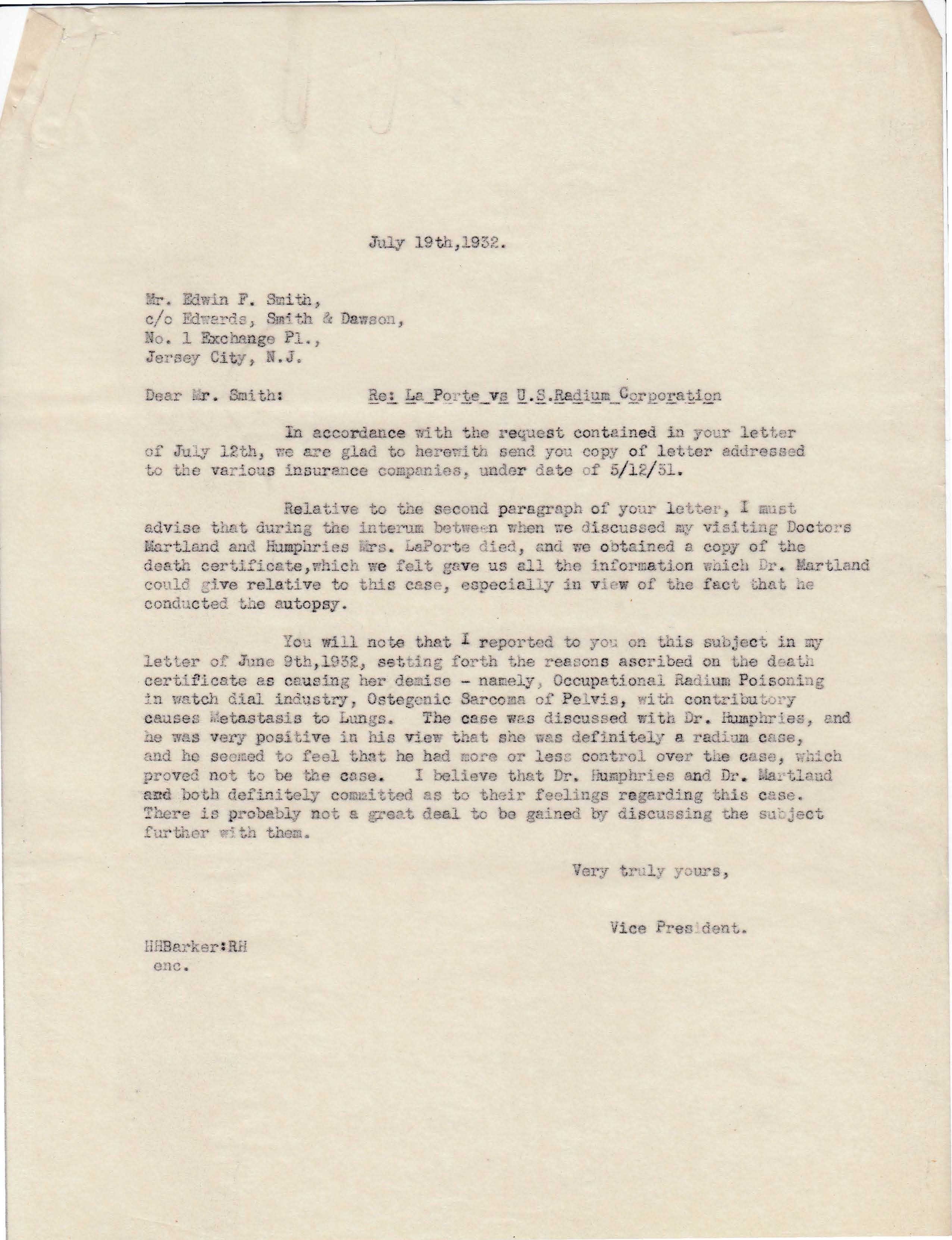 Letters Sent to Edwin F. Smith, July 19, 1932