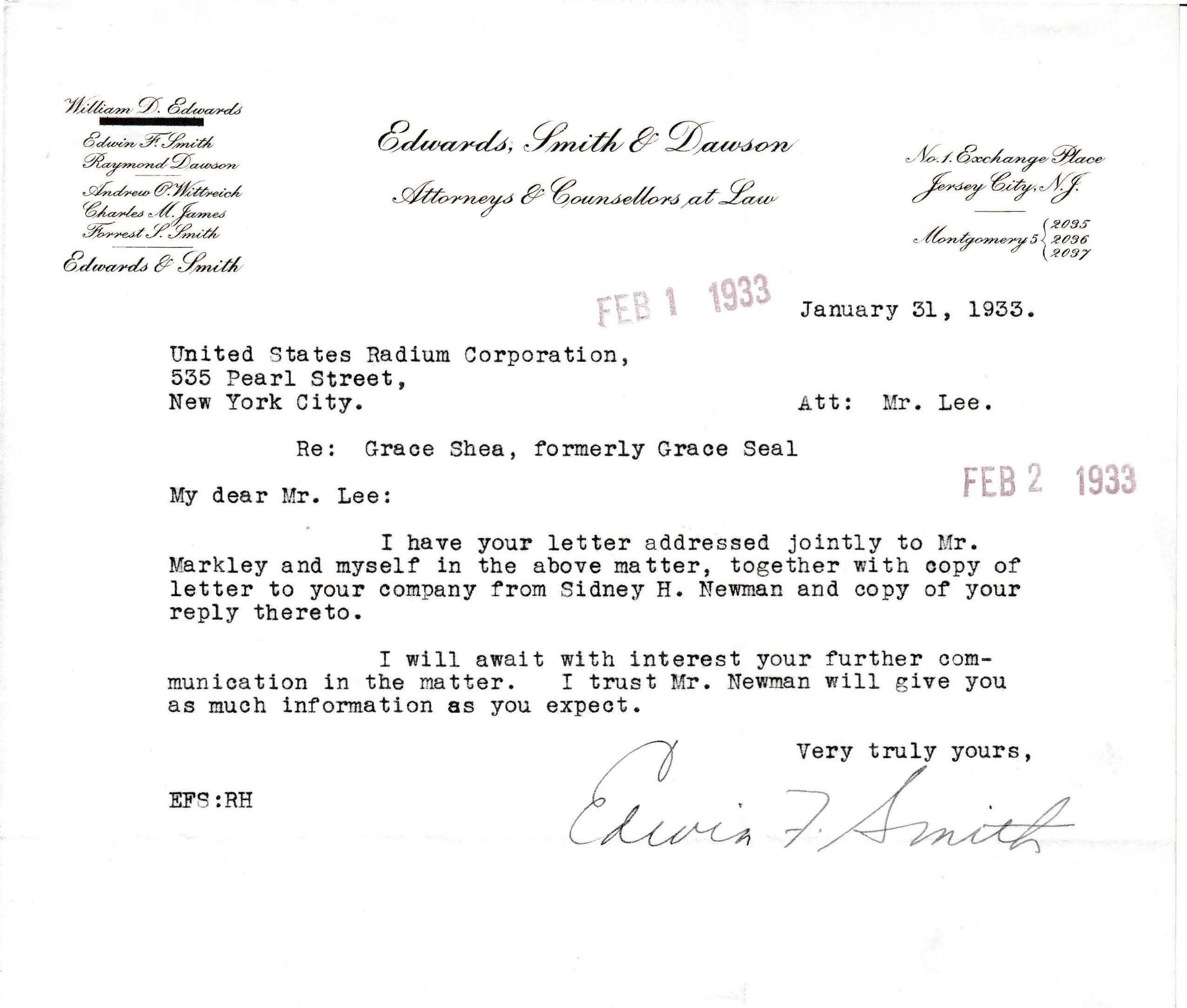 Letters Received to Mr. Lee [C.B. Lee], January 31, 1933