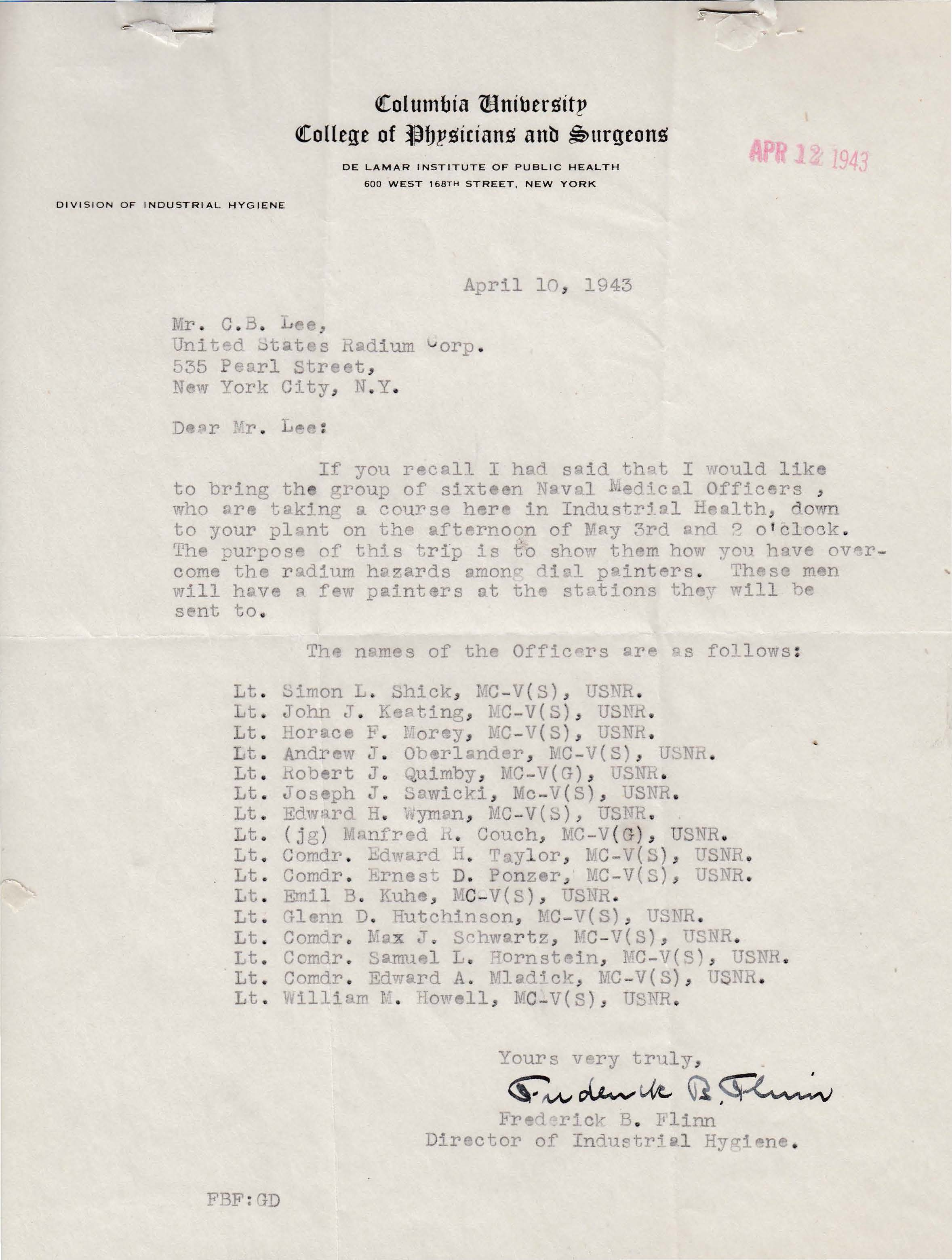 Letters Received to C.B. Lee, April 10, 1943