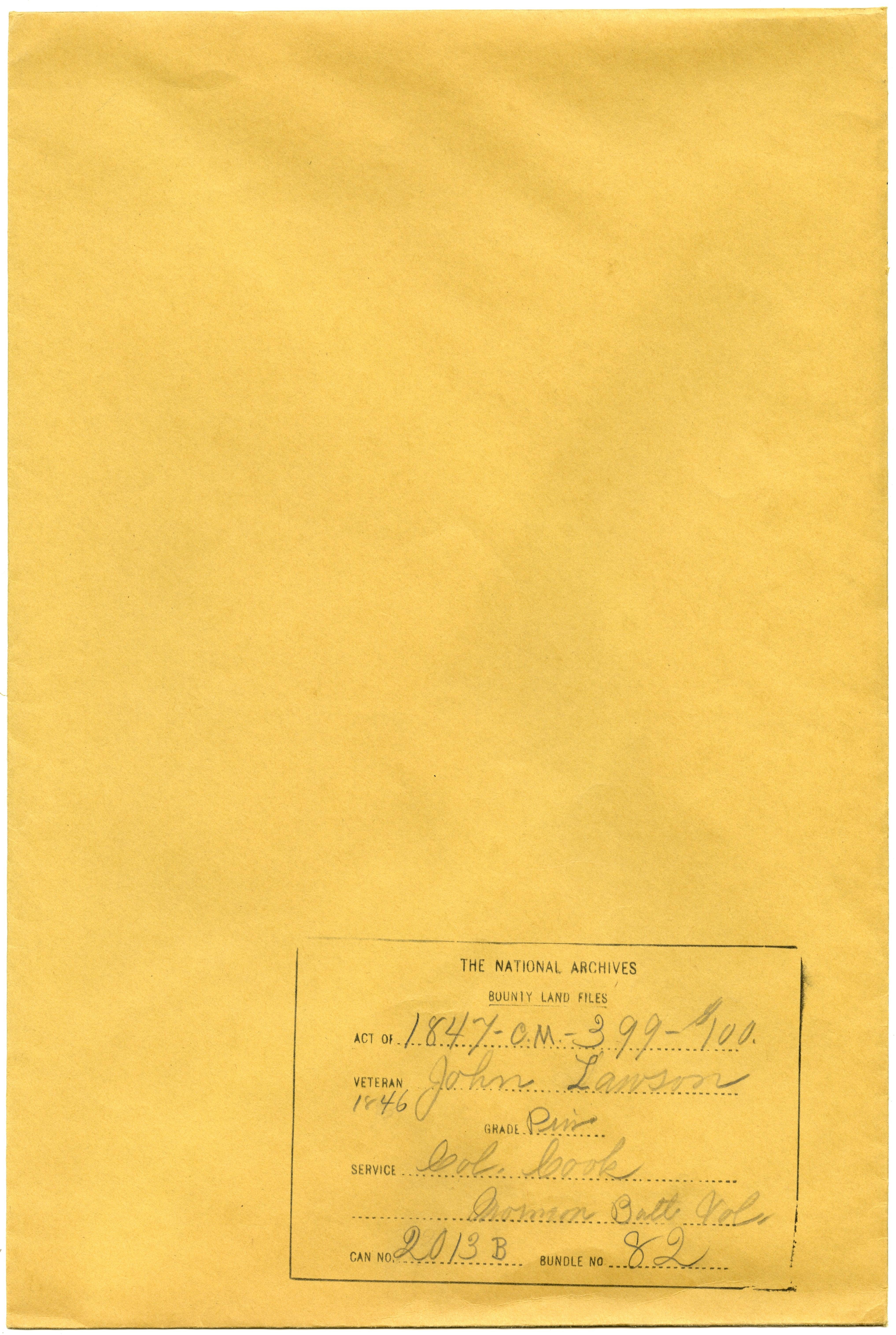Bounty Land Application File for Private John Lawson, Company B, Mormon Battalion (47-CM-399-$100)