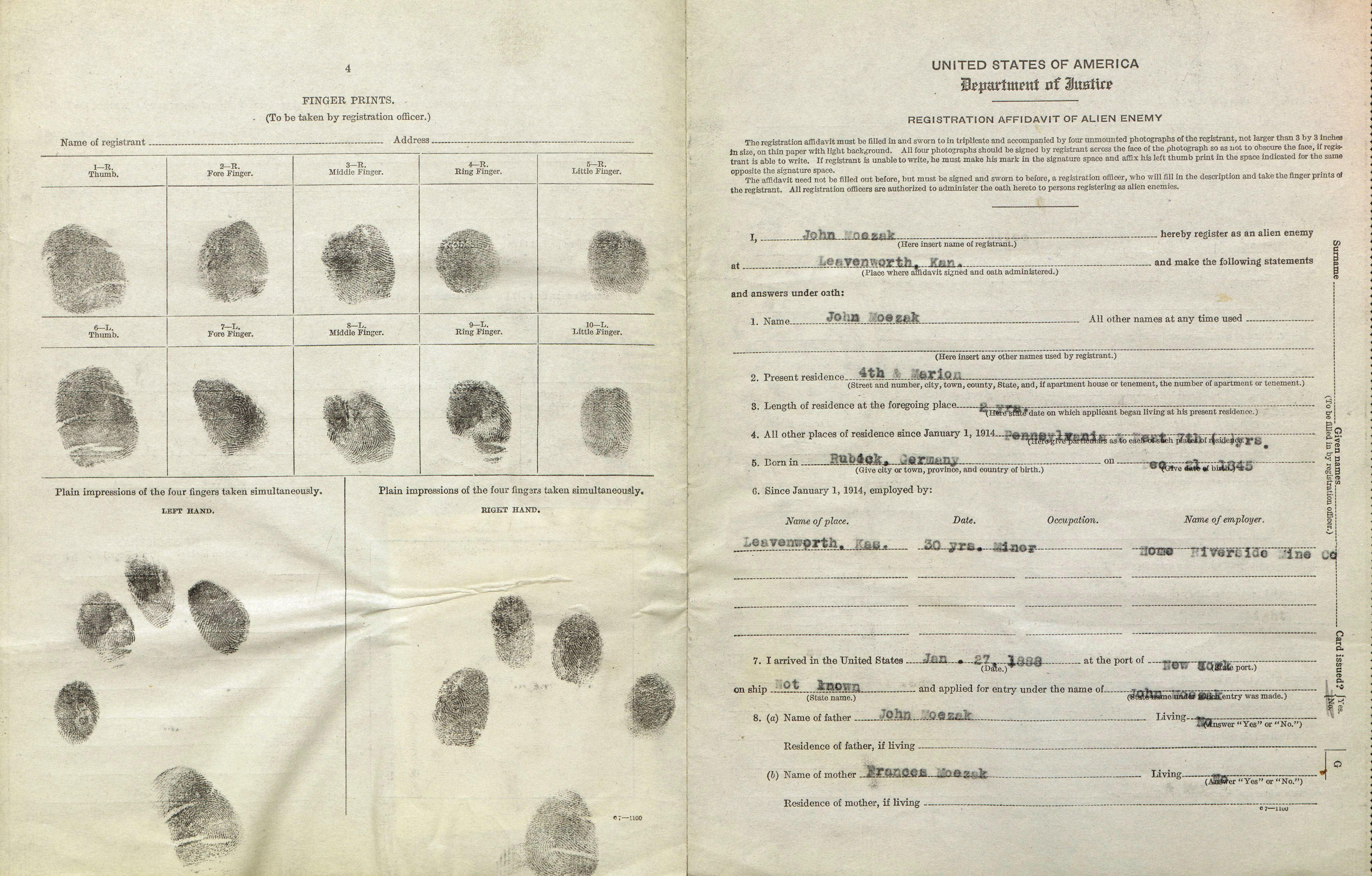 Enemy Alien Registration Affidavit for John Moezak