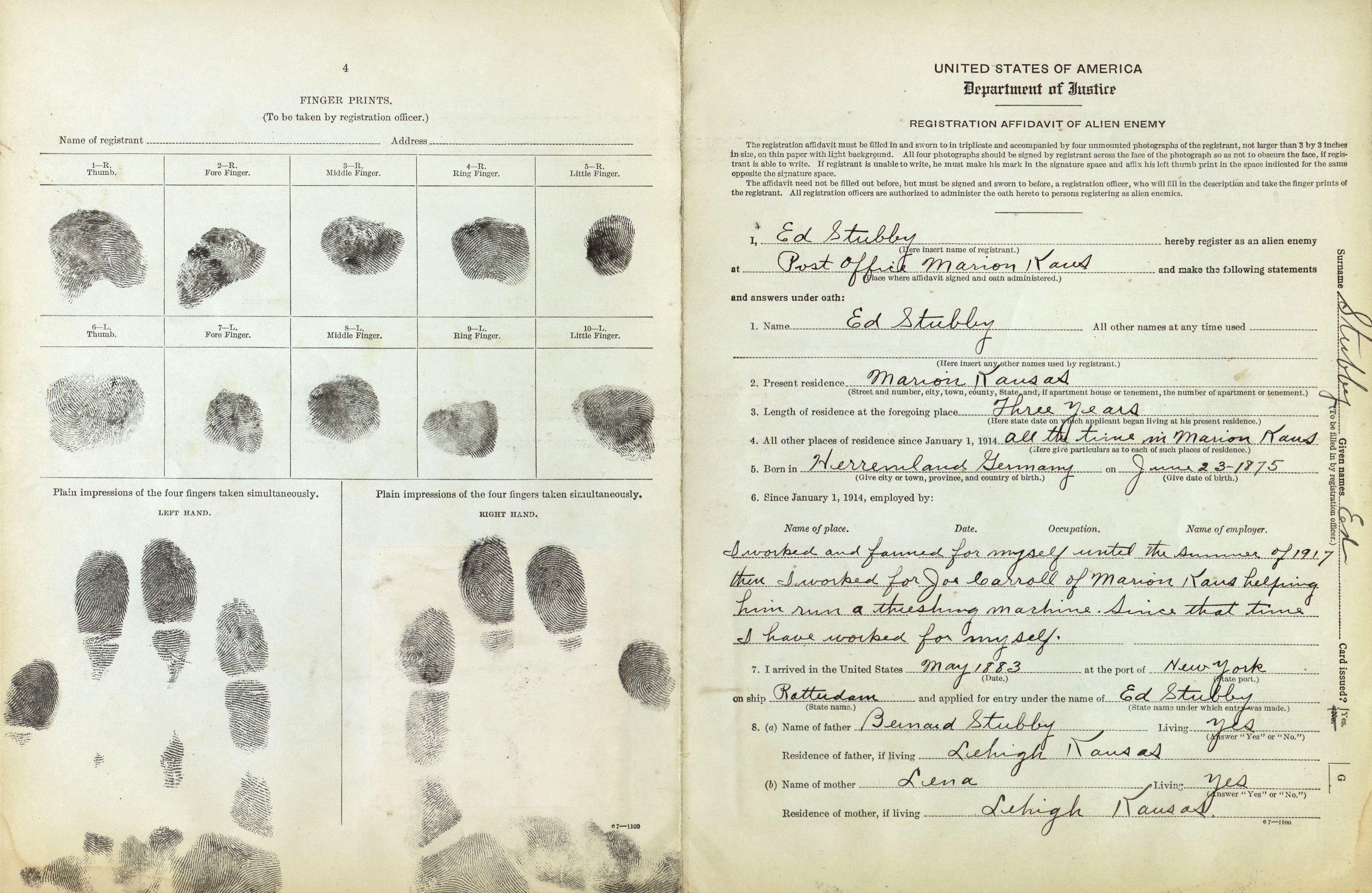 Enemy Alien Registration Affidavit for Ed Stubby