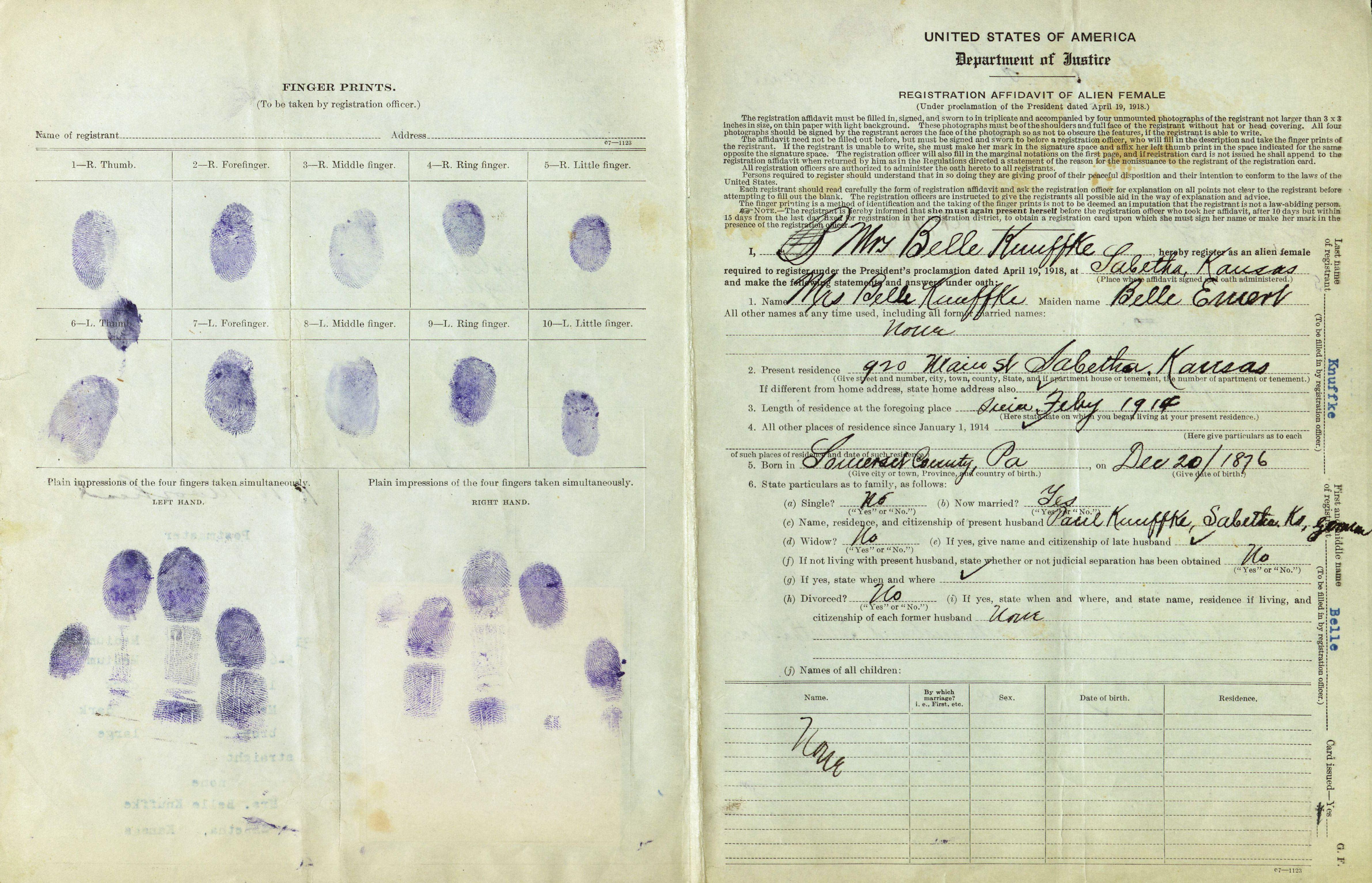 Enemy Alien Registration Affidavit for Belle Knuffke