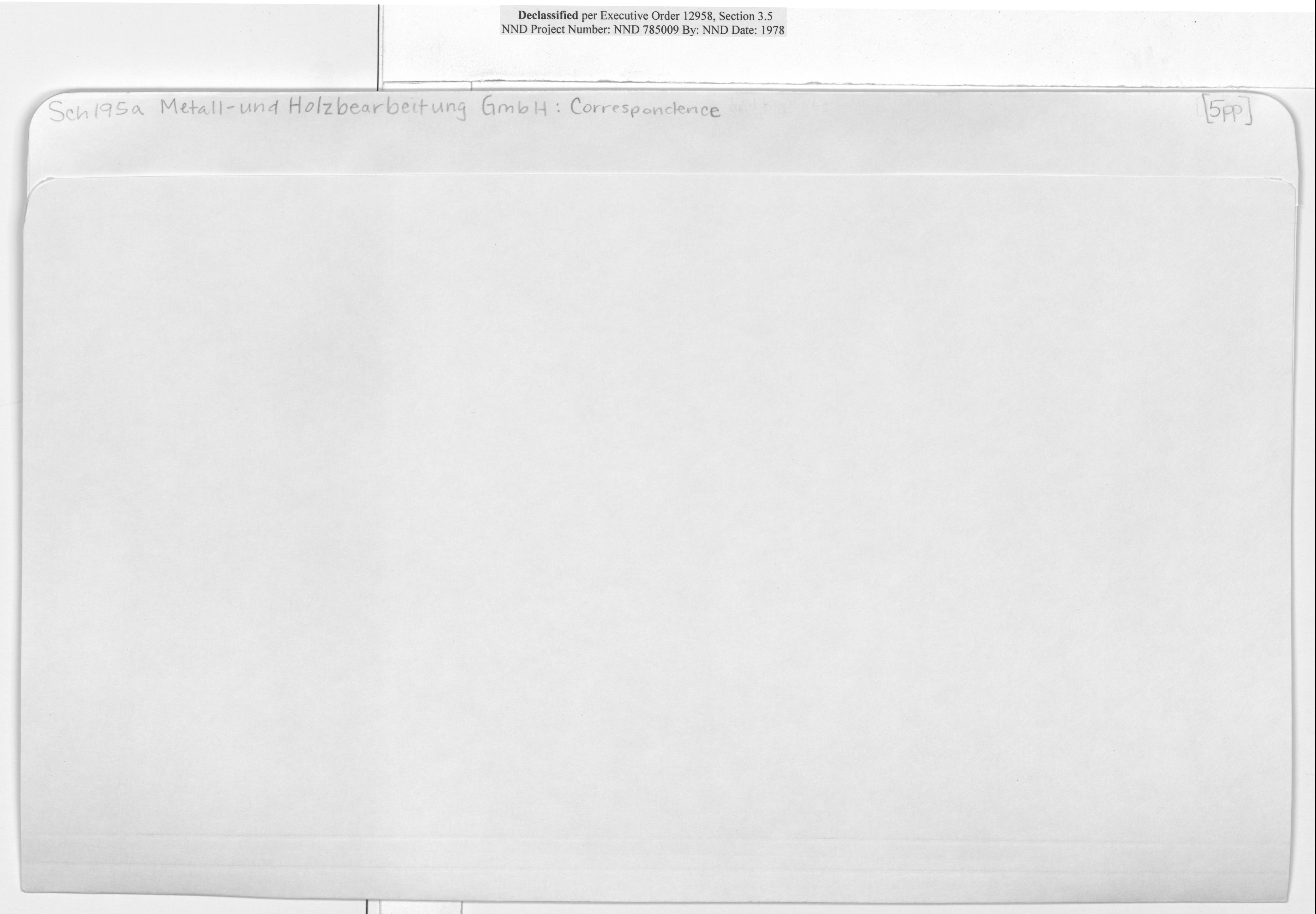 Sch 195a Metall-und Holzbearbeitung GmbH: Correspondence