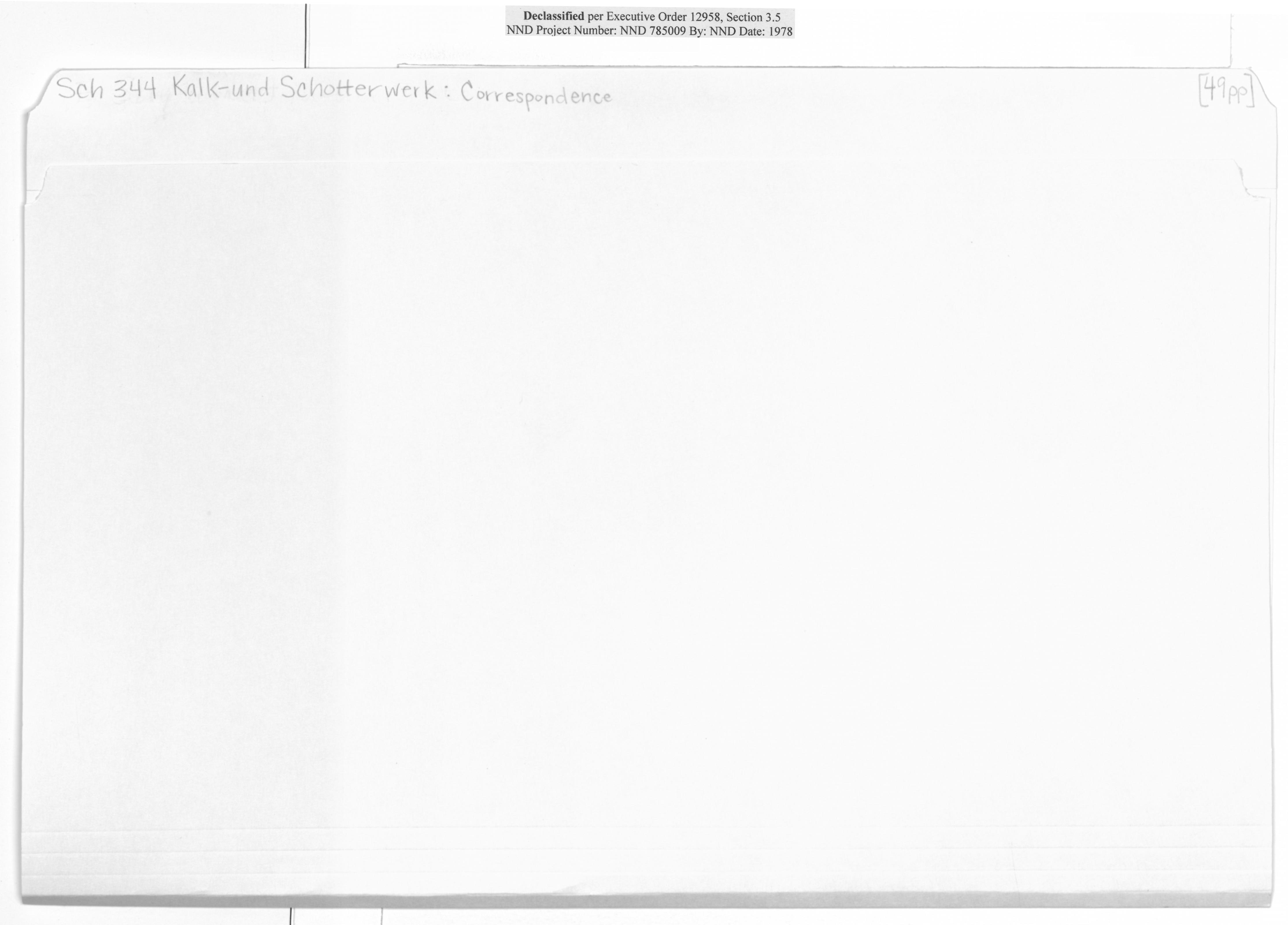 Sch 344 Kalk-und Schotterwerk: Correspondence