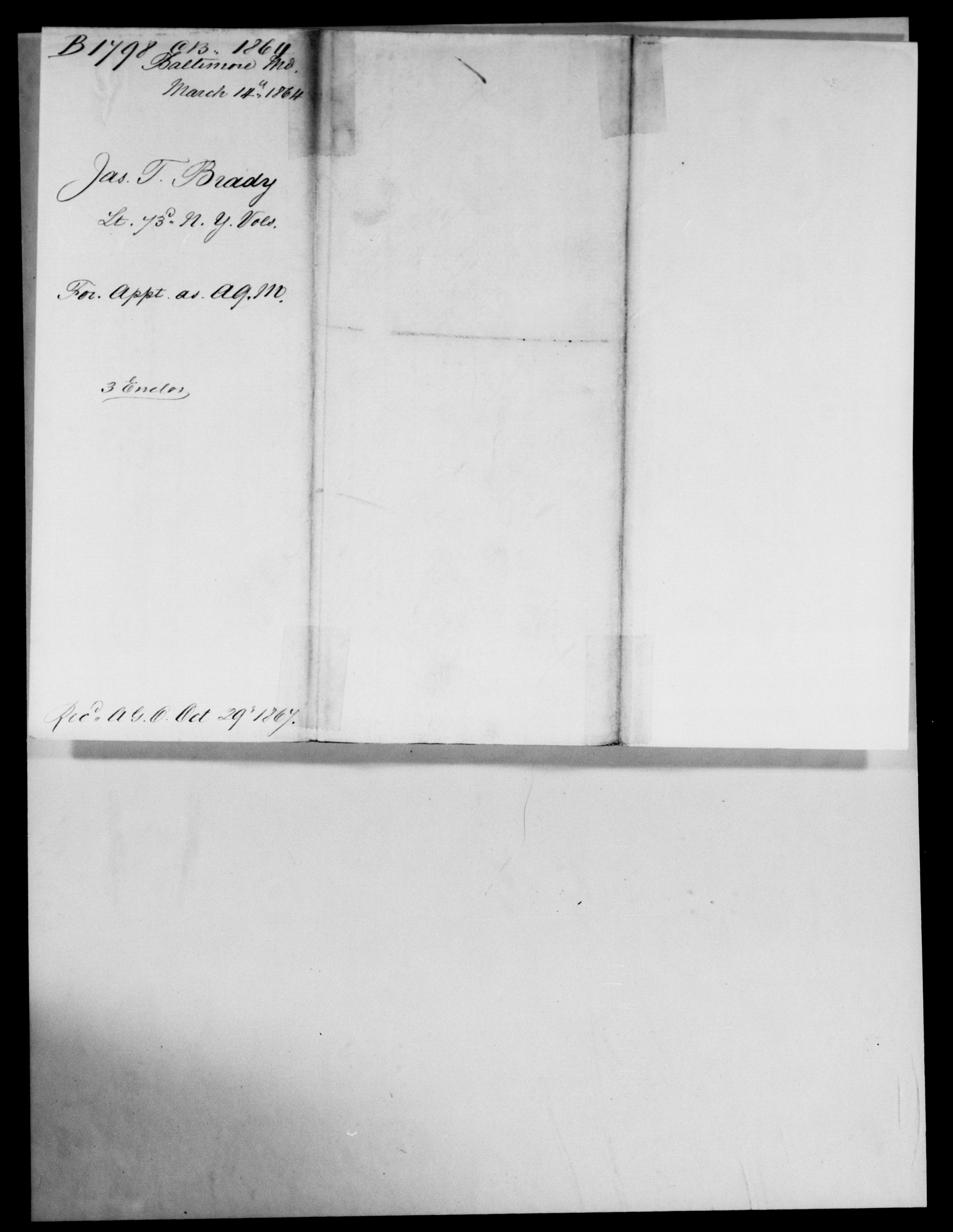 Consolidated Military Officer's File of James T Brady, Maryland, 1864
