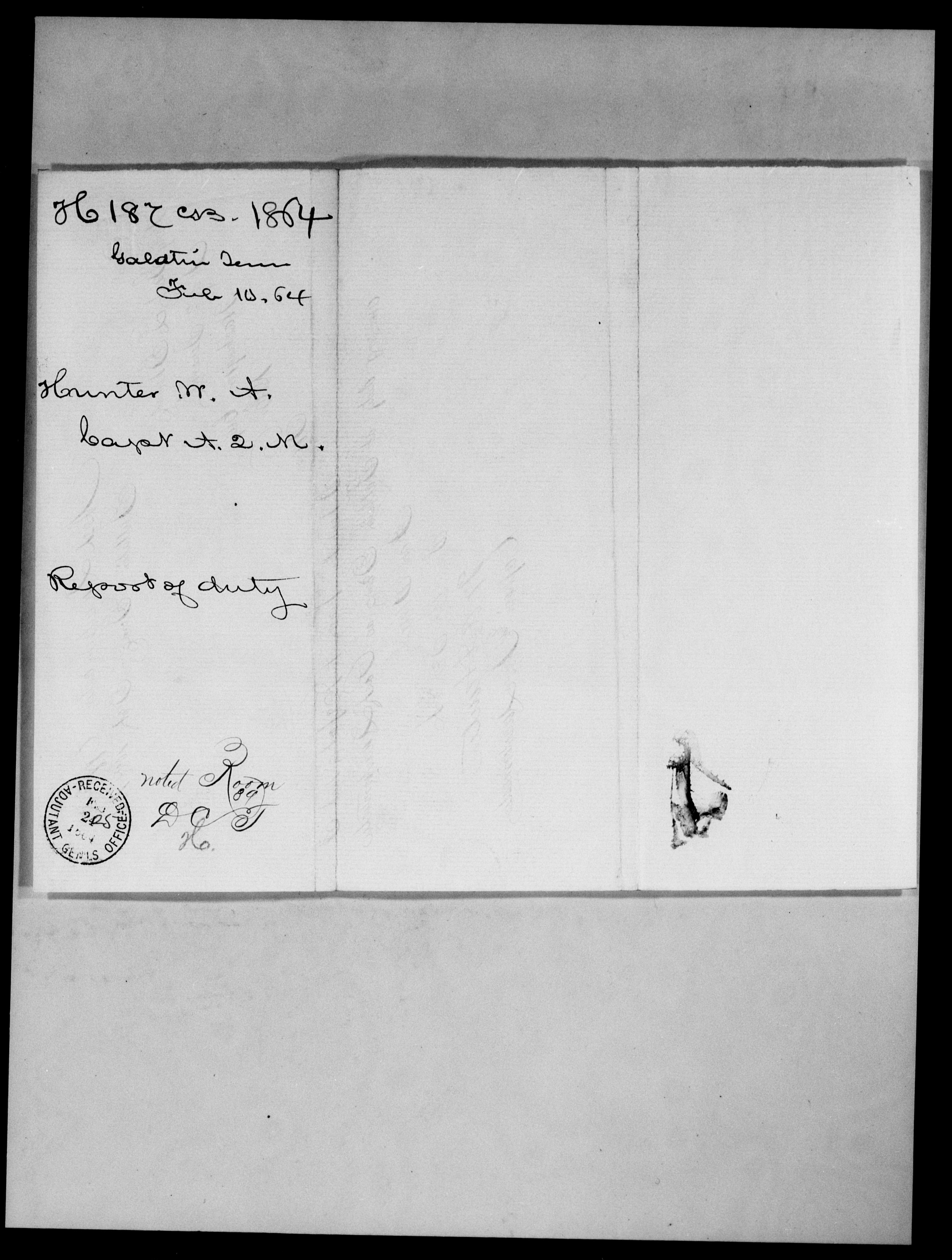 Consolidated Military Officer's File of W A Hunter, Tennessee, 1864