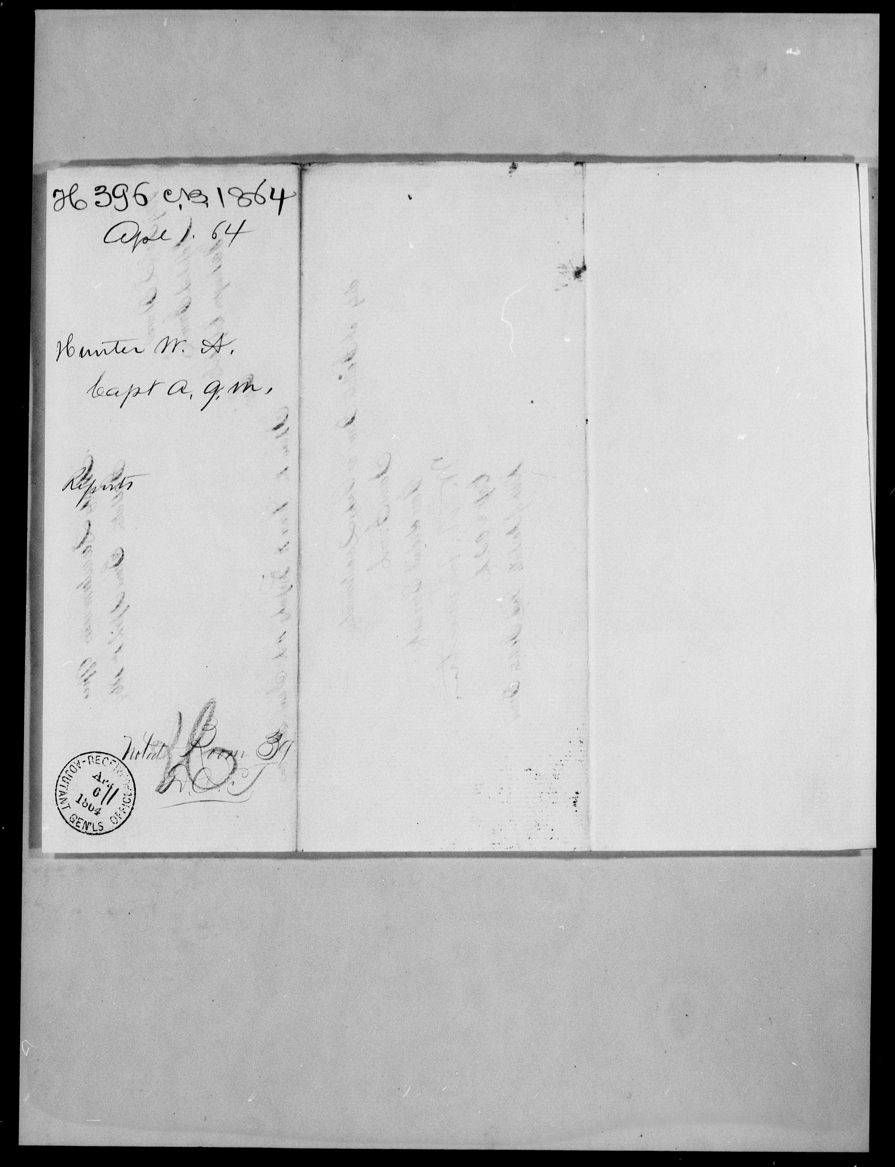 Consolidated Military Officer's File of W A Hunter, 1864