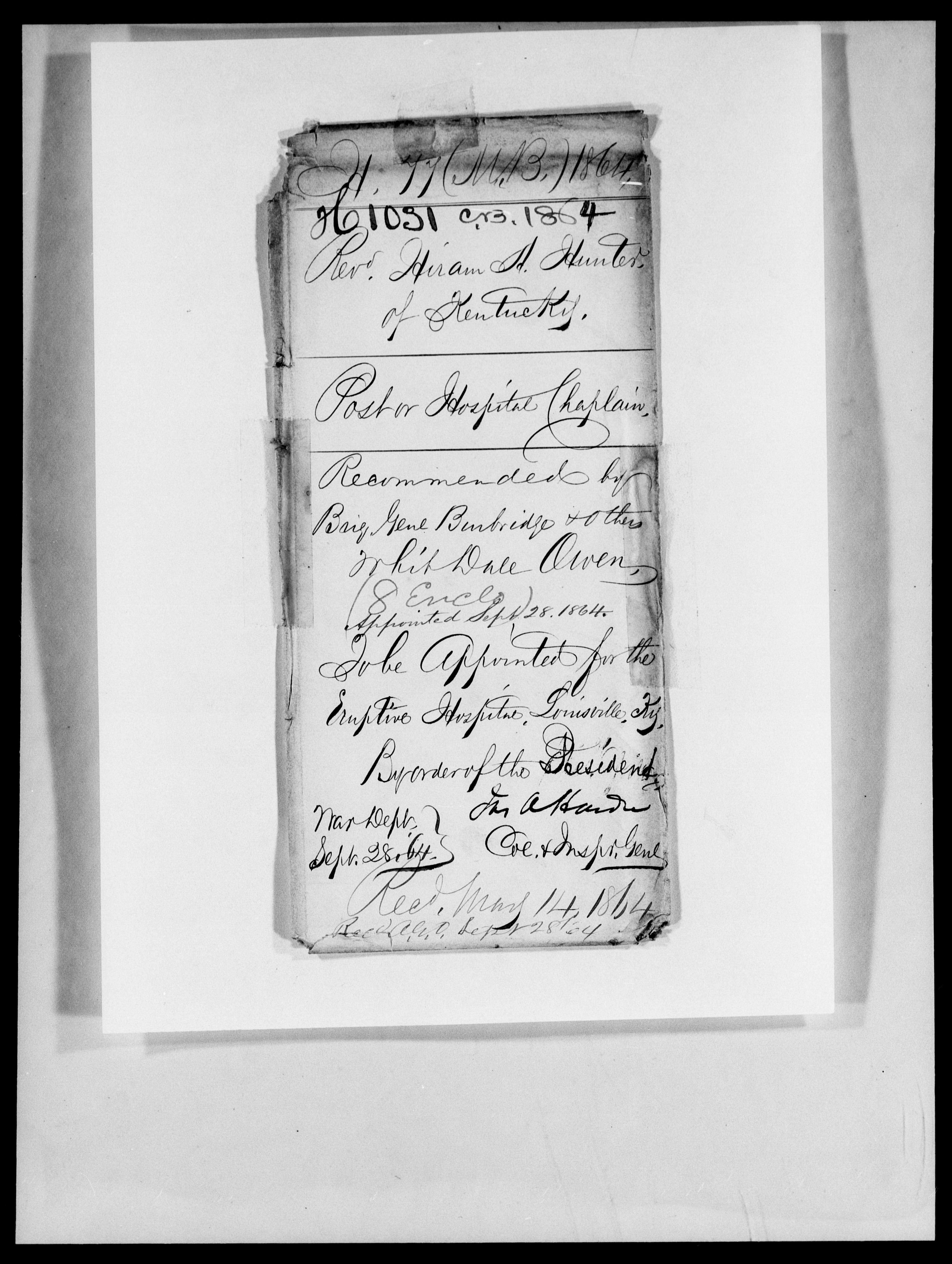 Consolidated Military Officer's File of Hiram A Hunter, Kentucky, 1864