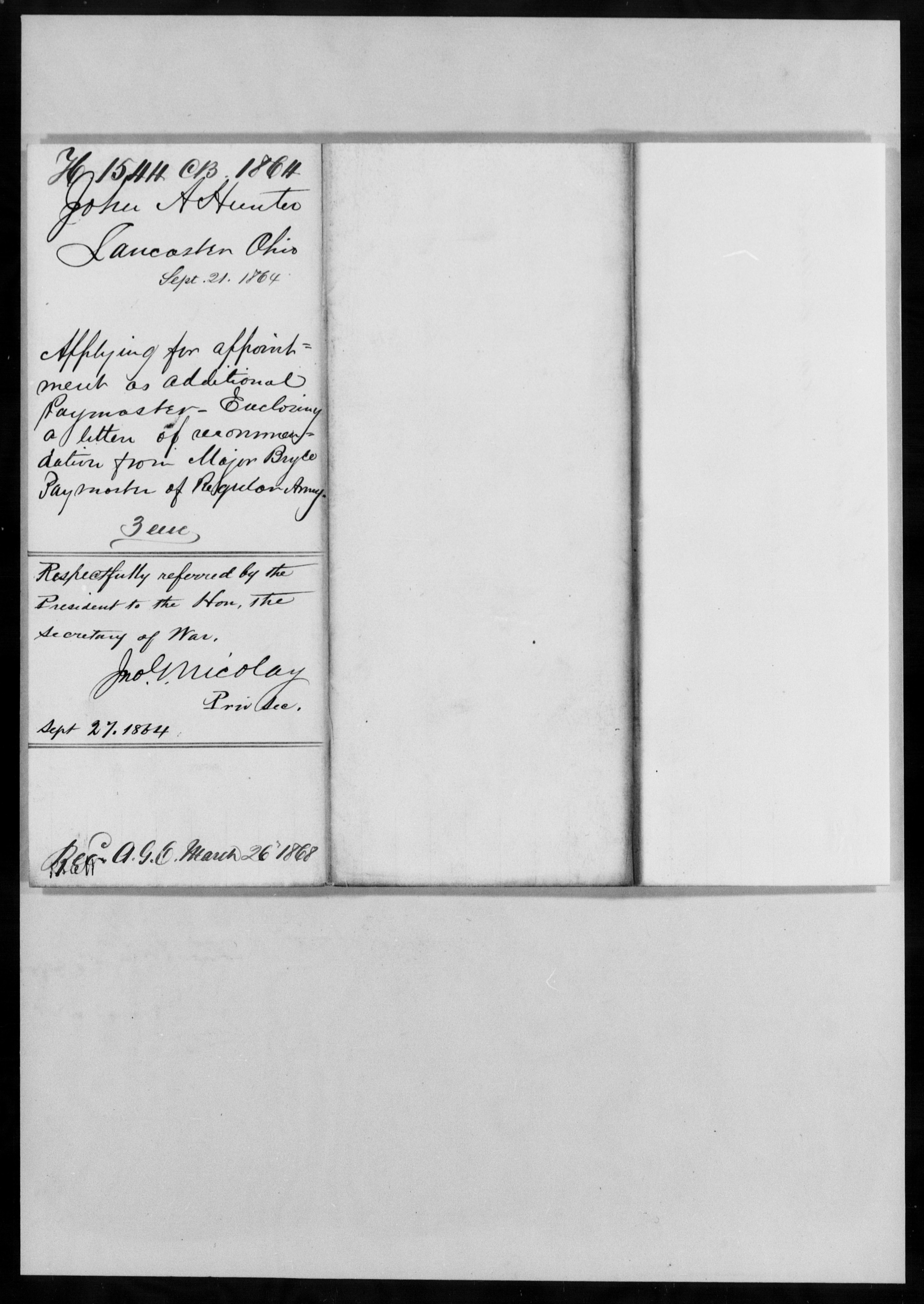 Consolidated Military Officer's File of John A Hunter, Ohio, 1864