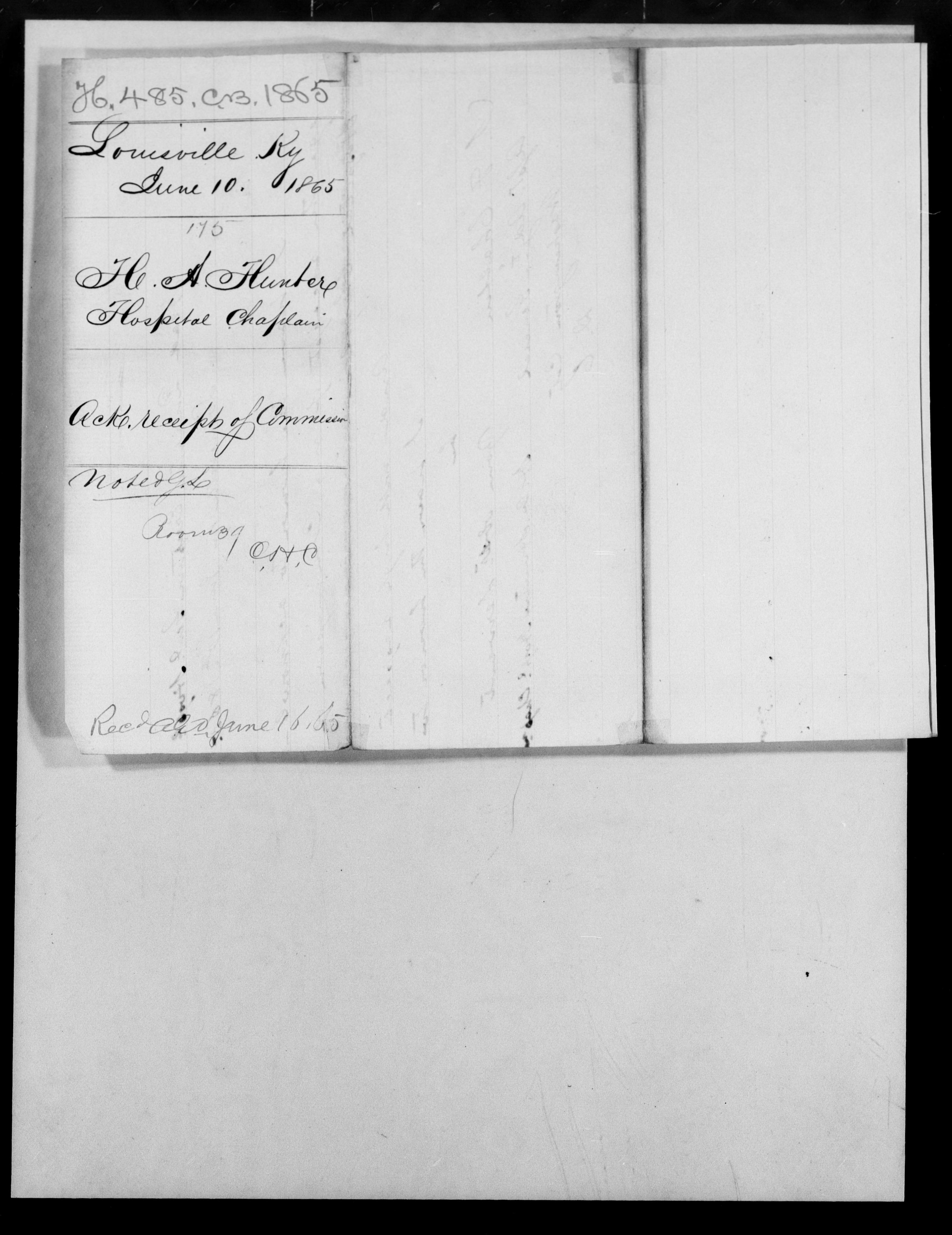 Consolidated Military Officer's File of H A Hunter, Kentucky, 1865