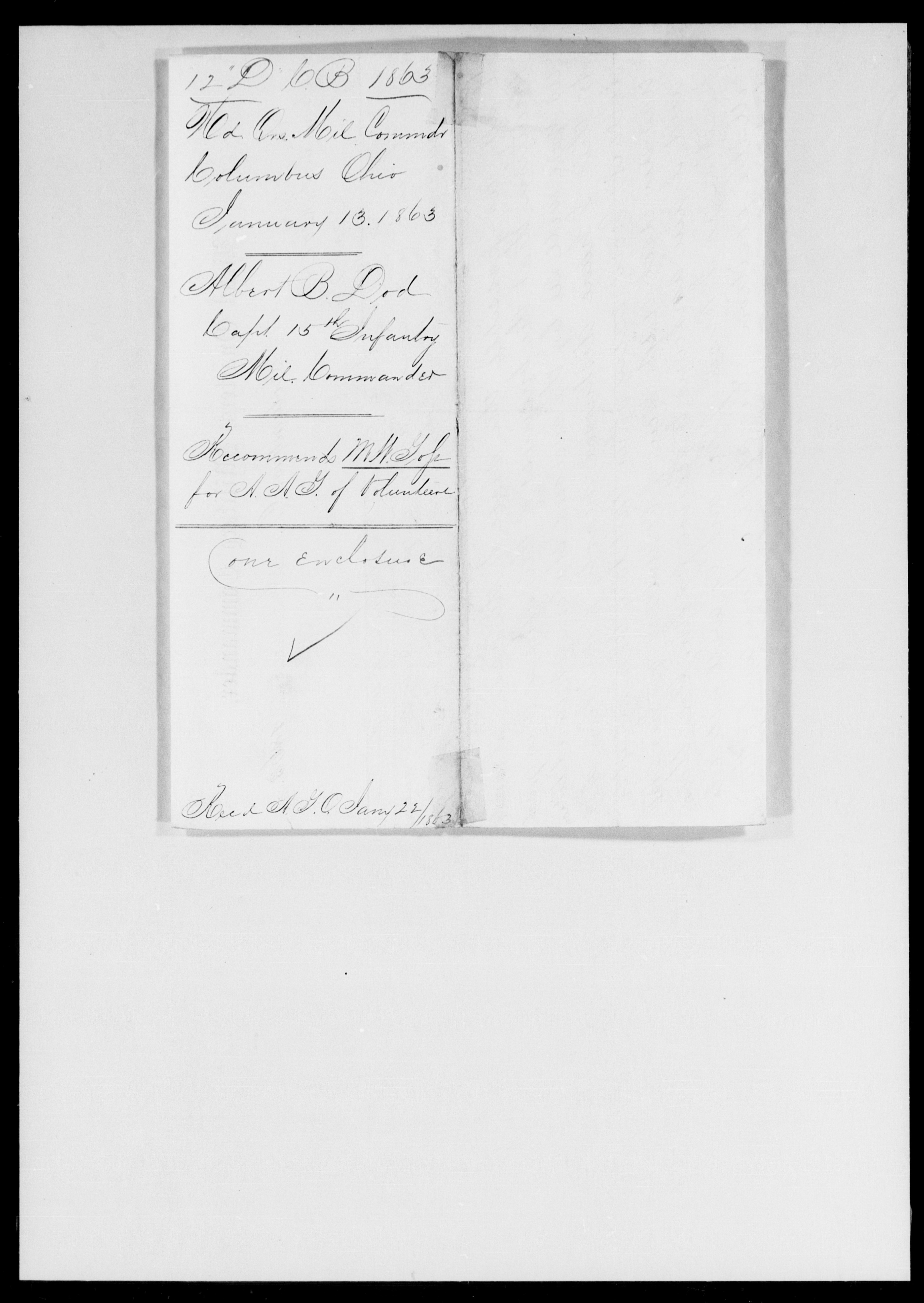 Dod, Albert B - Ohio - 1863