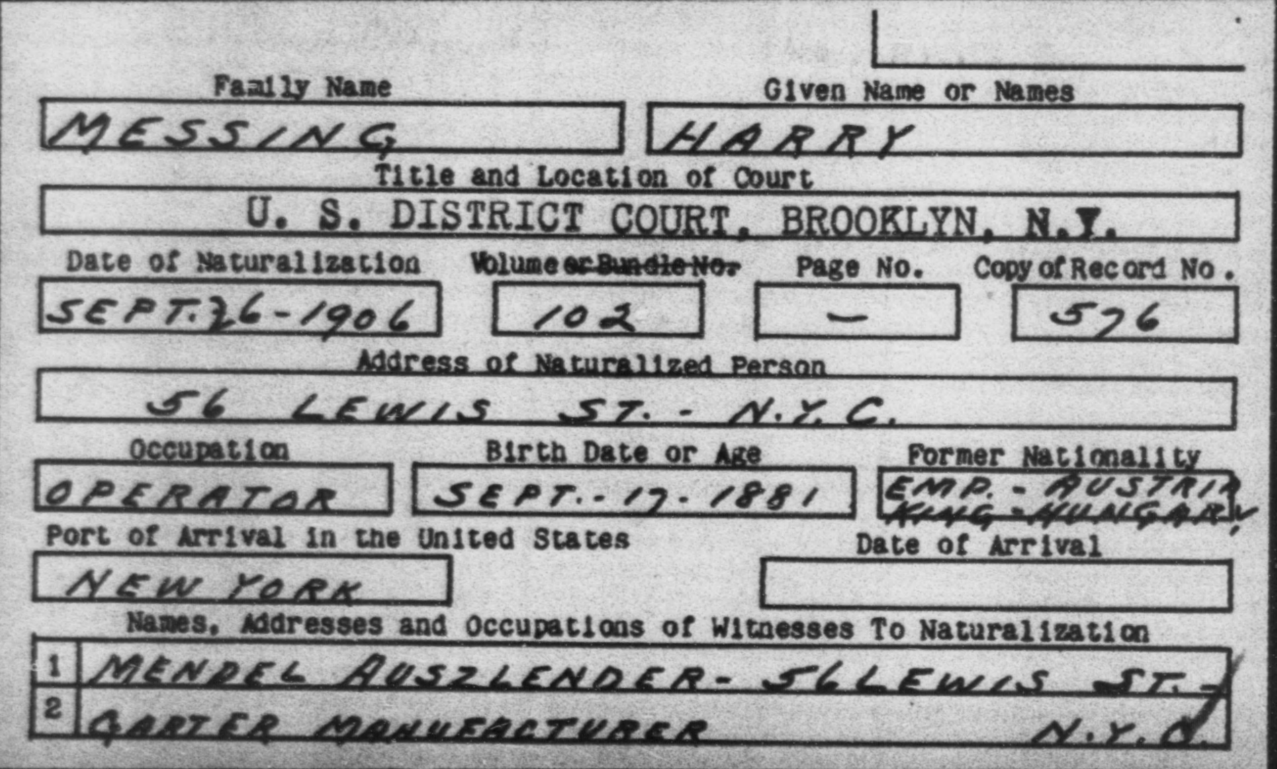 MESSING, HARRY - Born: 1881, Naturalized: 1906