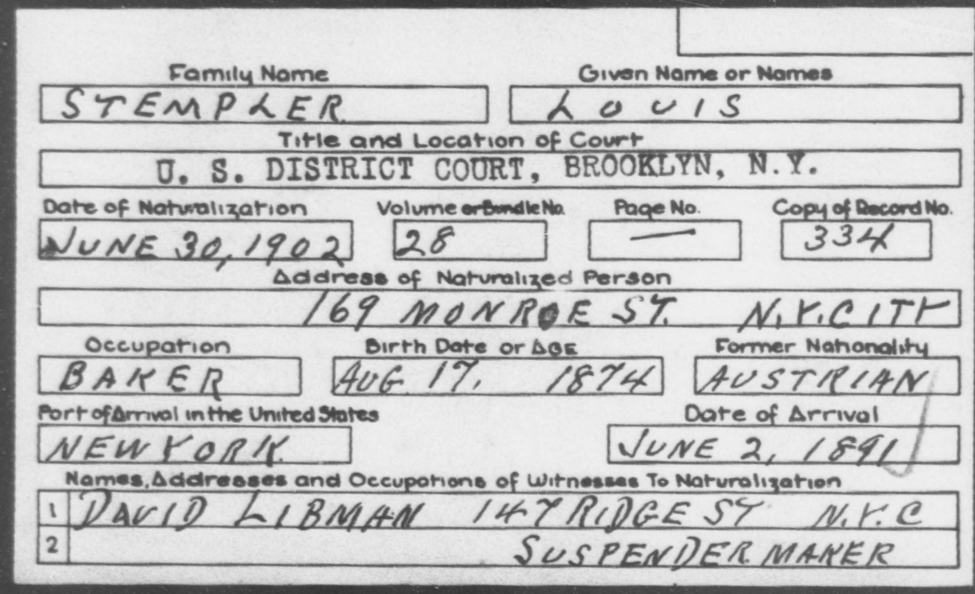 STEMPLER, LOUIS - Born: 1874, Naturalized: 1902