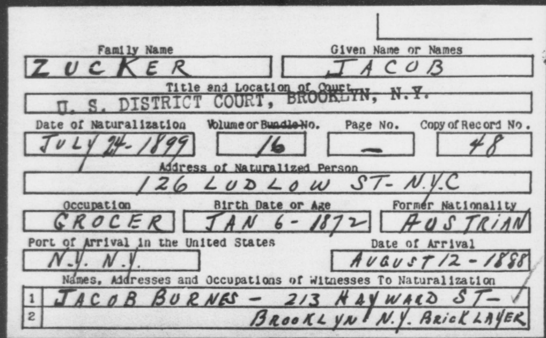 ZUCKER, JACOB - Born: 1872, Naturalized: 1899