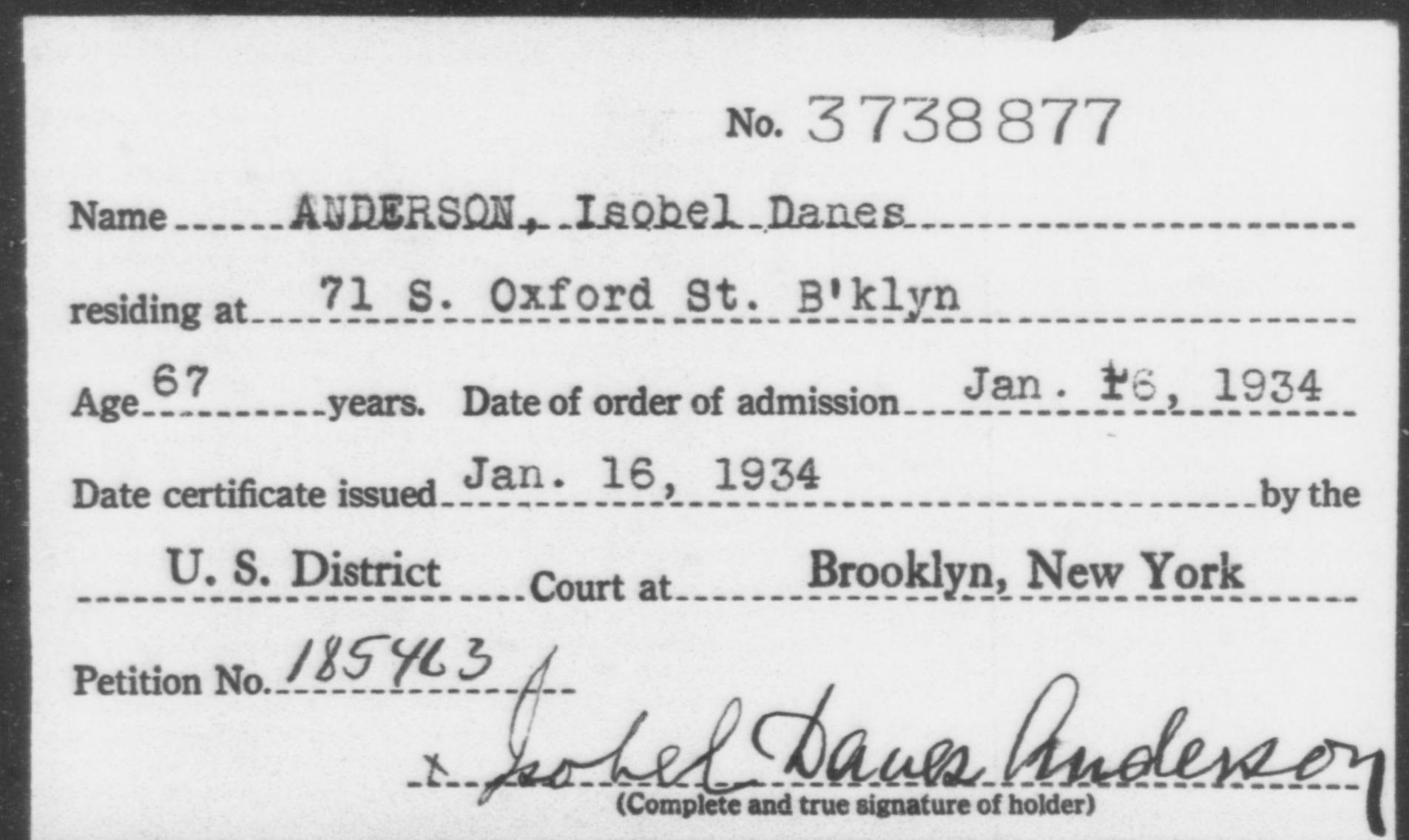 ANDERSON, Isobel Danes - Born: [Age], Naturalized: 1934