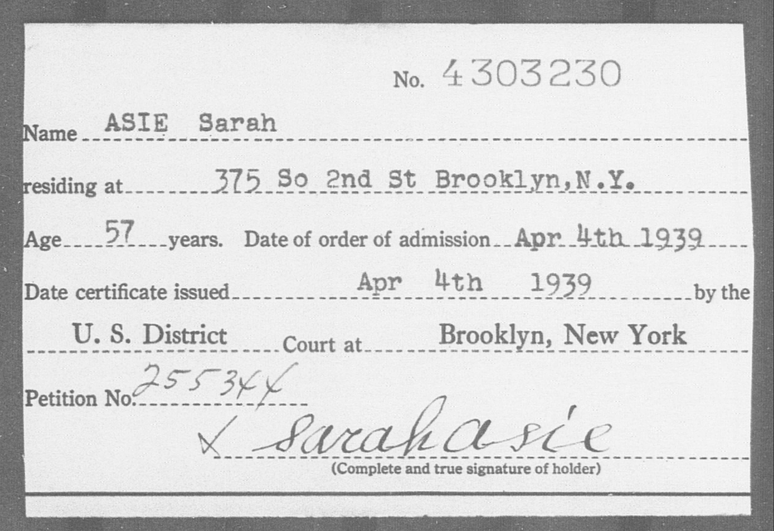 ASIE Sarah - Born: [BLANK], Naturalized: 1939