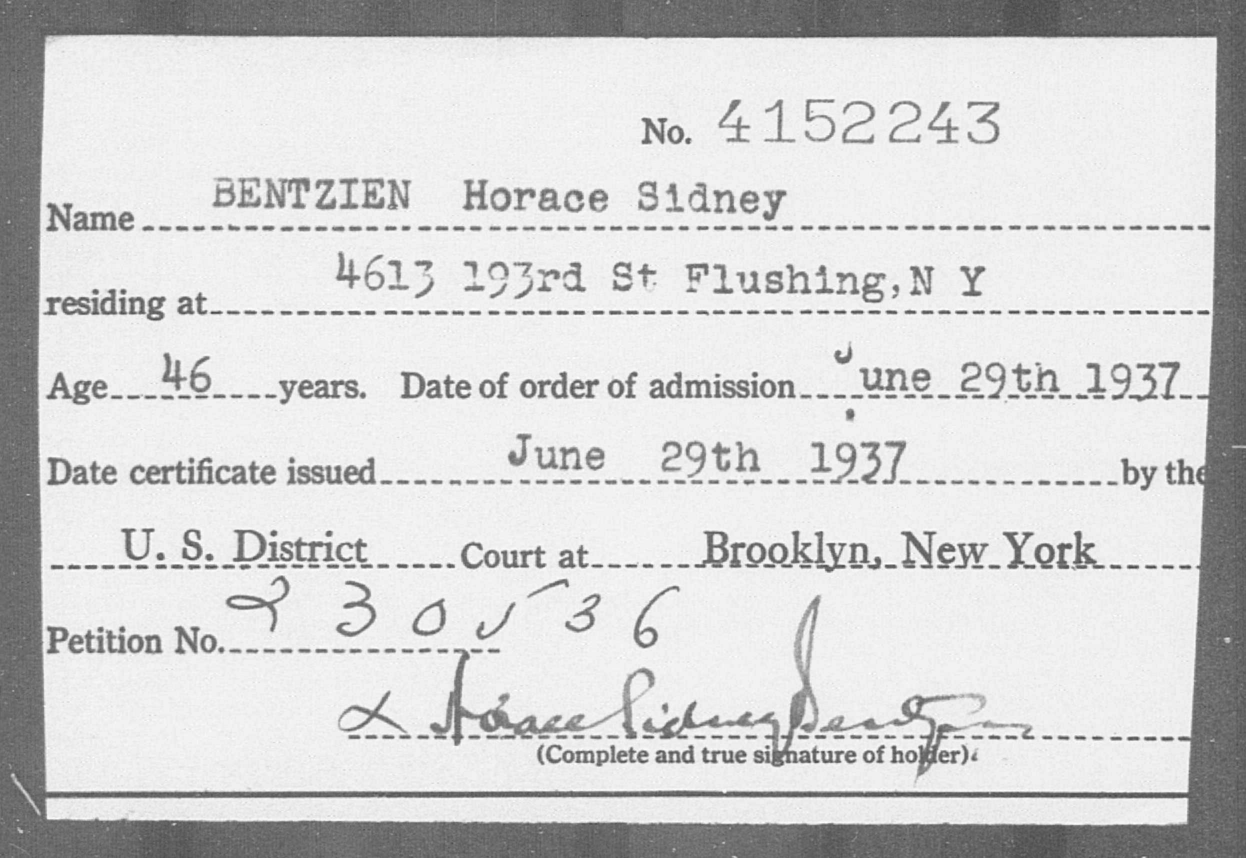 BENTZIEN Horace Sidney - Born: [BLANK], Naturalized: 1937