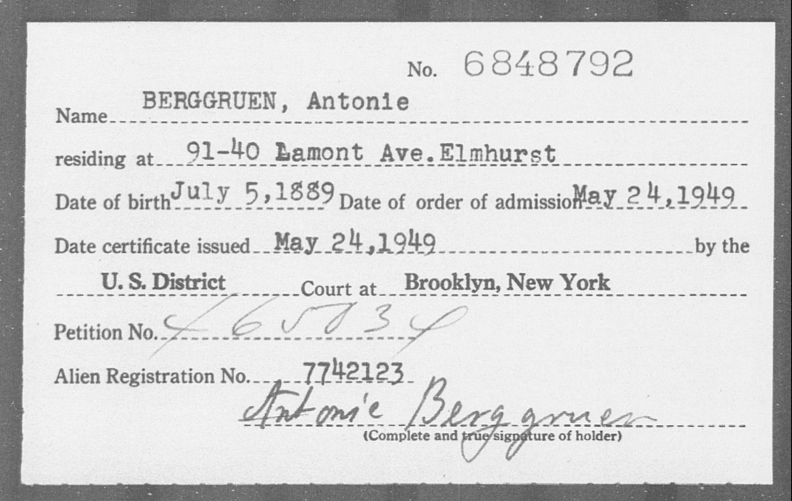 BERGGRUEN, Antonie - Born: 1889, Naturalized: 1949