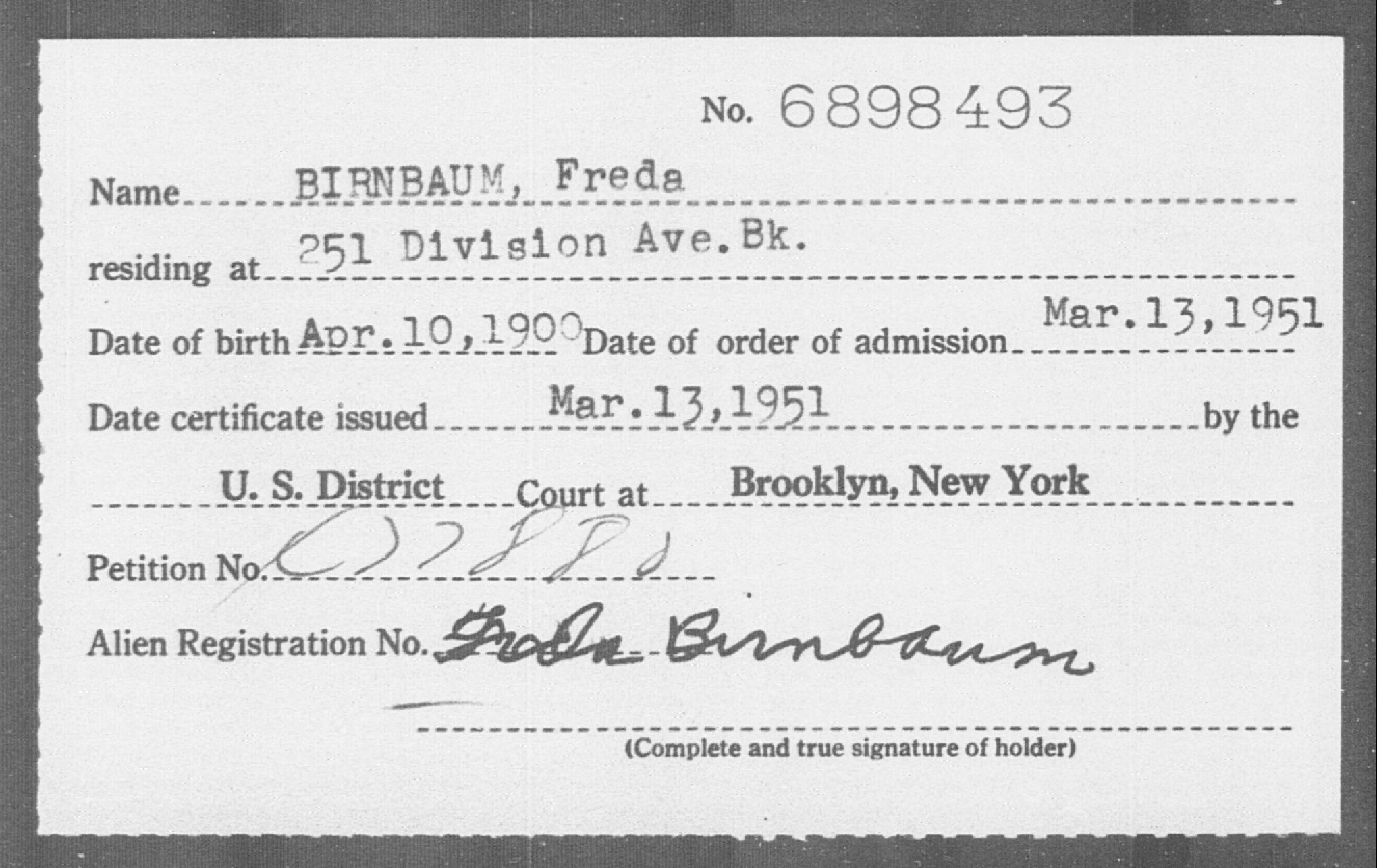 BIRNBAUM, Freda - Born: 1900, Naturalized: 1951