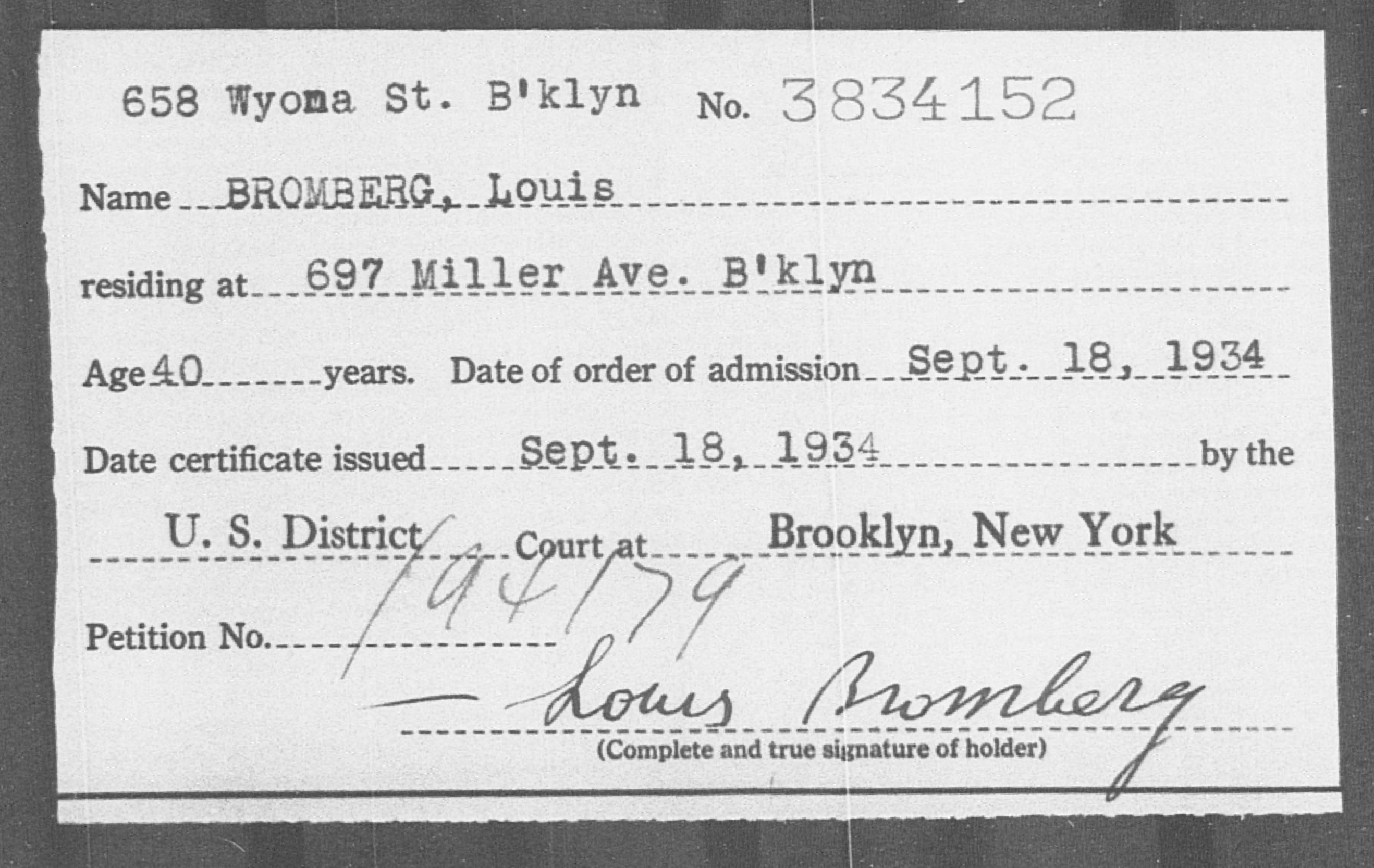 BROMBERG, Louis - Born: [BLANK], Naturalized: 1934