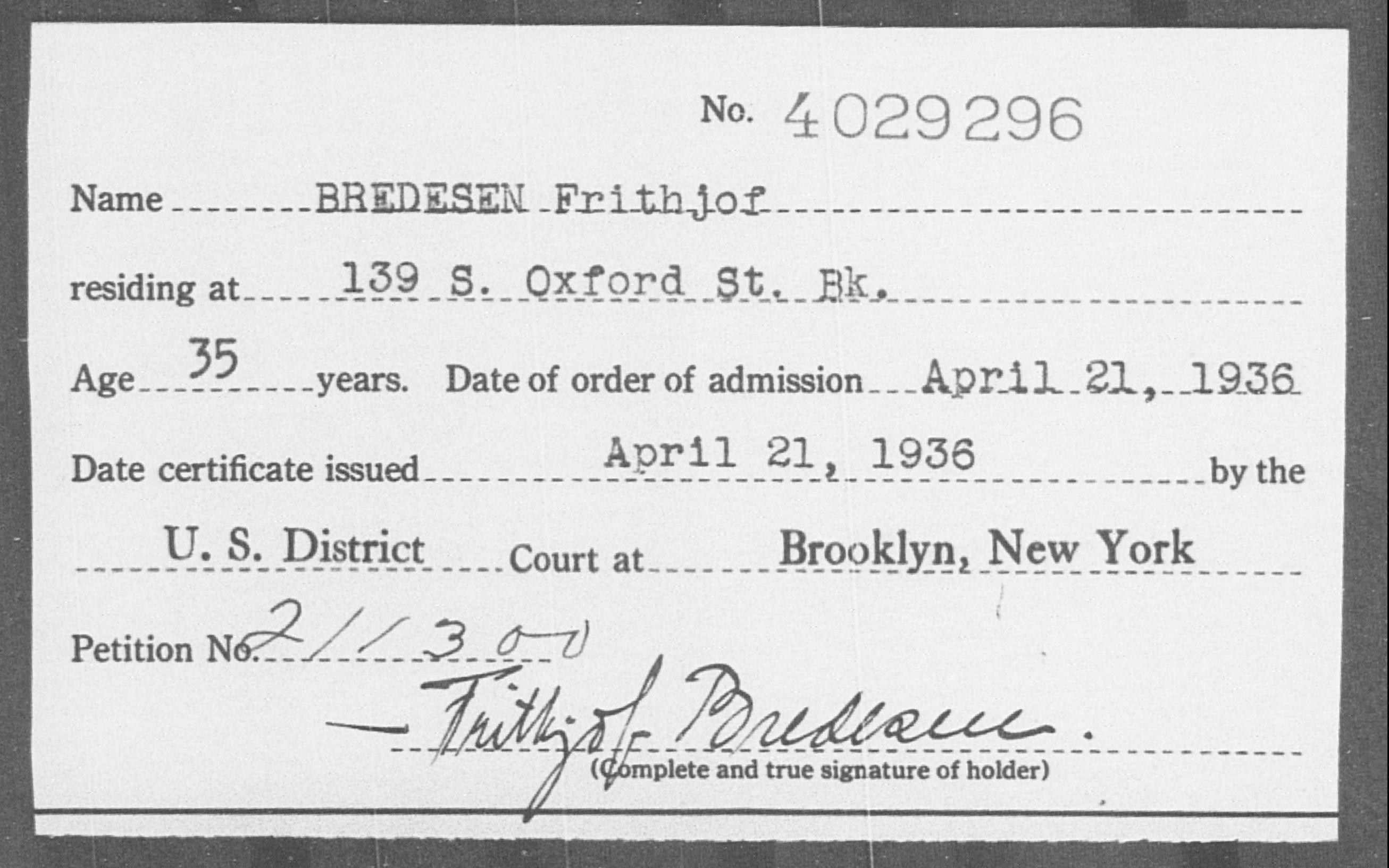 BREDESEN Frithjof - Born: [BLANK], Naturalized: 1936