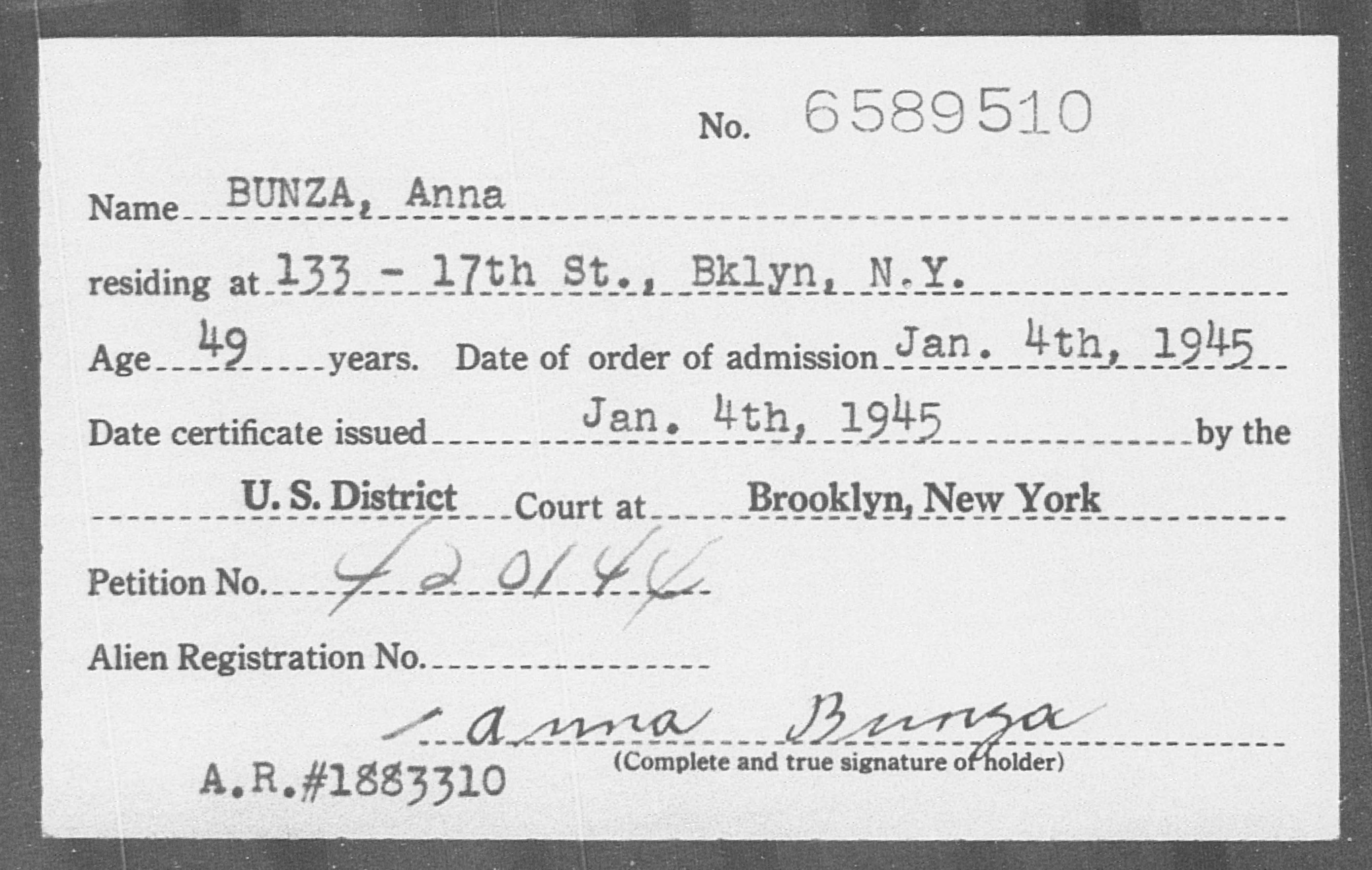 BUNZA, Anna - Born: [BLANK], Naturalized: 1945