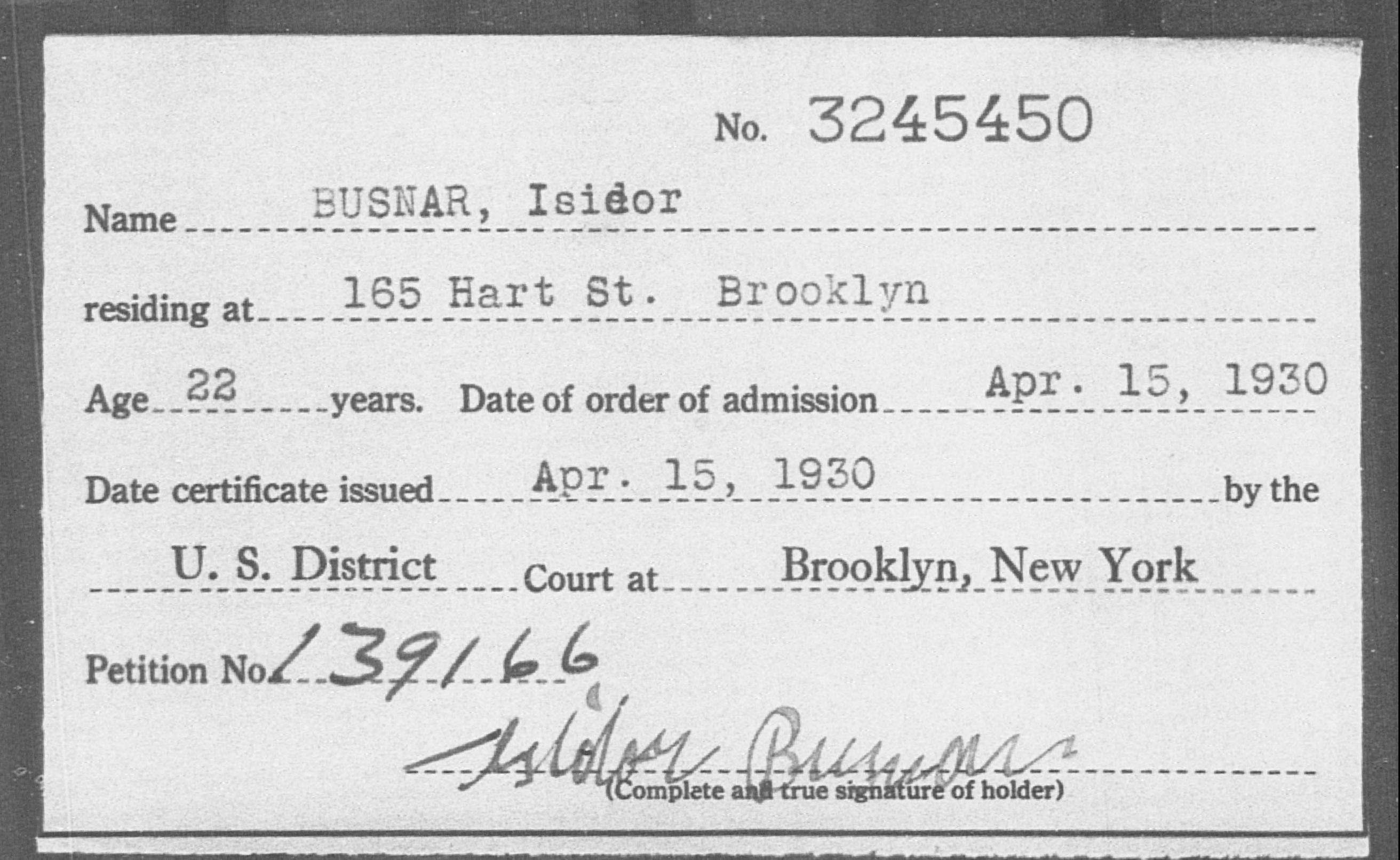 BUSNAR, Isidor - Born: [BLANK], Naturalized: 1930