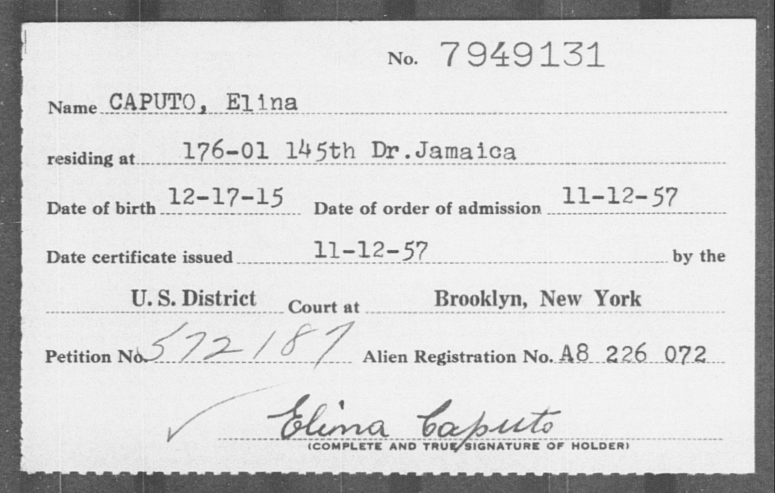 CAPUTO, Elina - Born: 1915, Naturalized: 1957