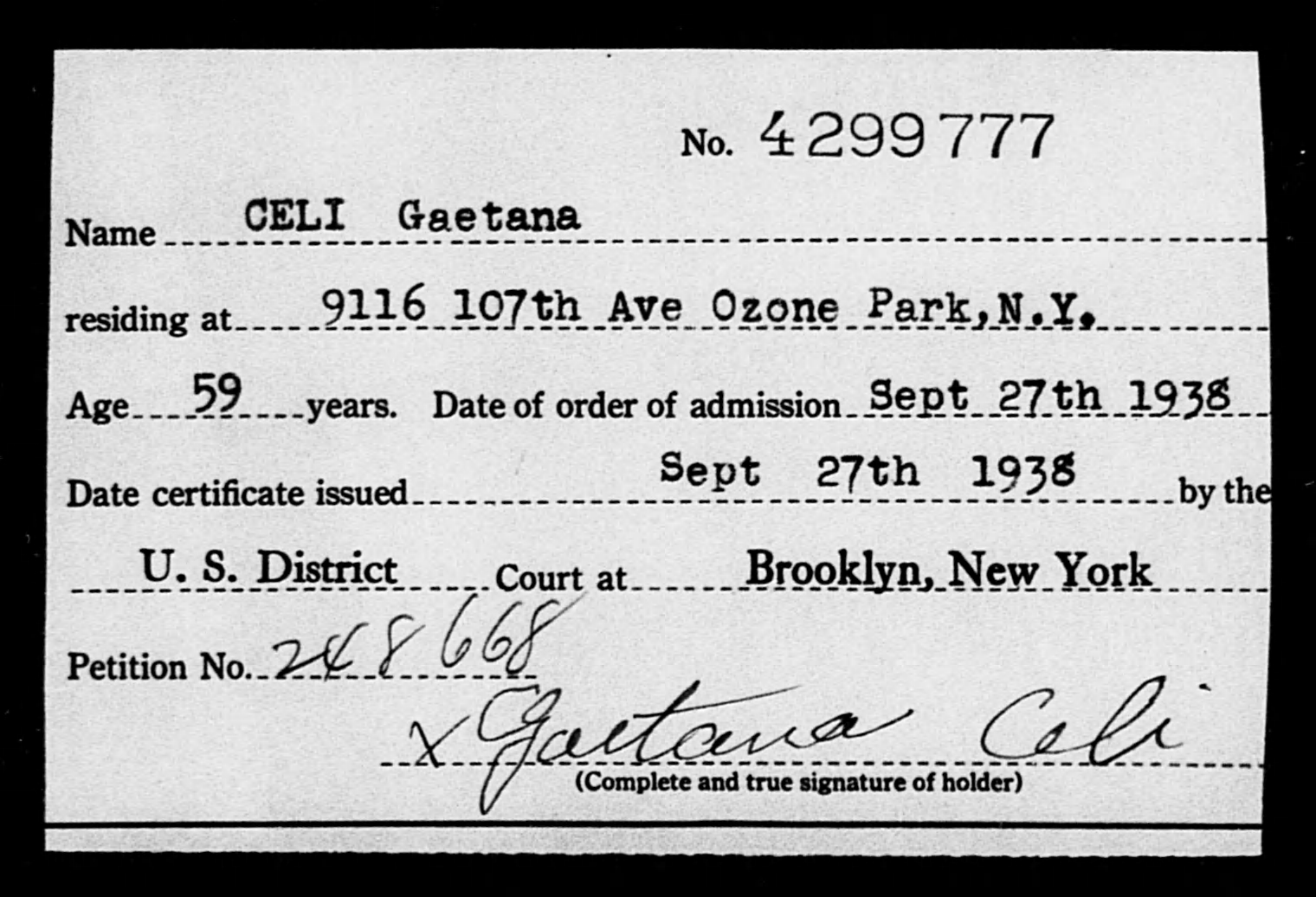 CELI Gaetana - Born: [BLANK], Naturalized: 1938