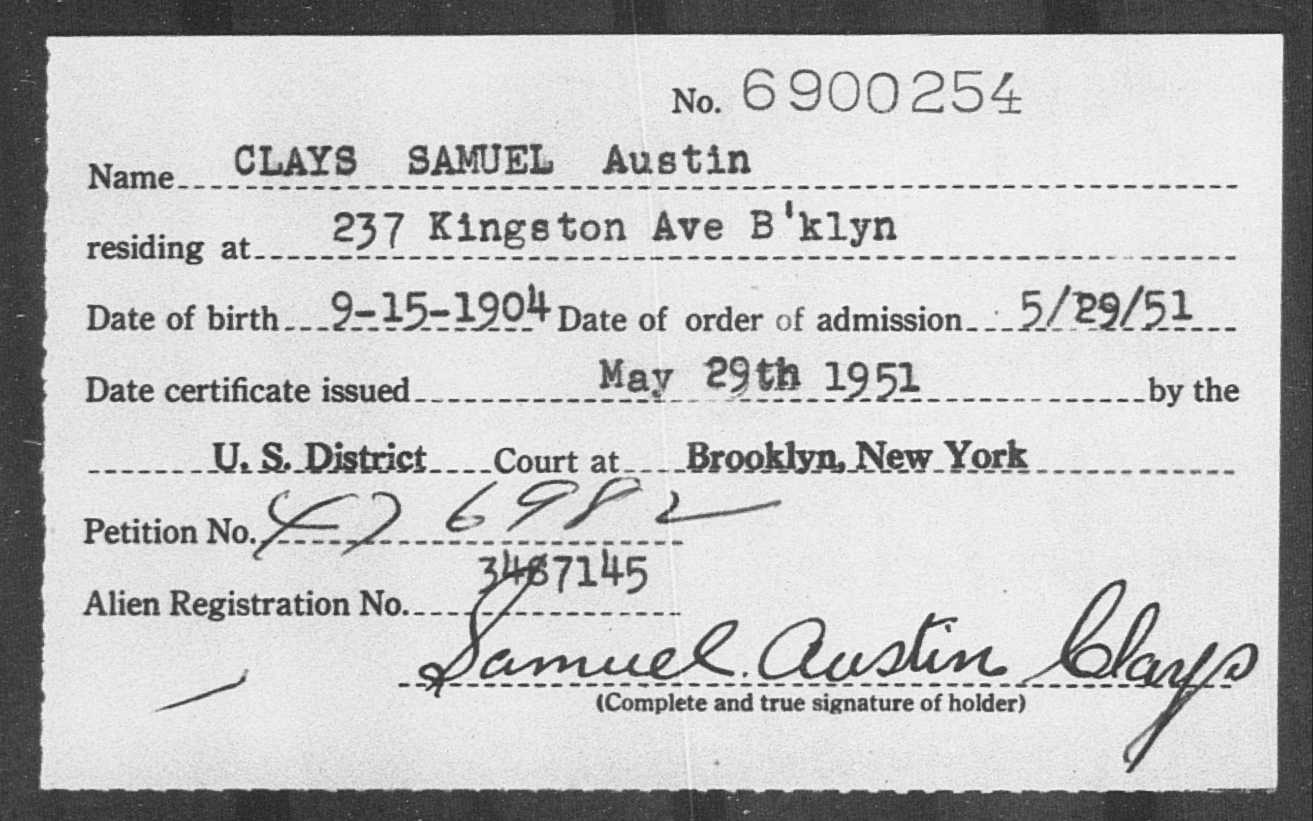CLAYS SAMUEL Austin - Born: 1904, Naturalized: 1951