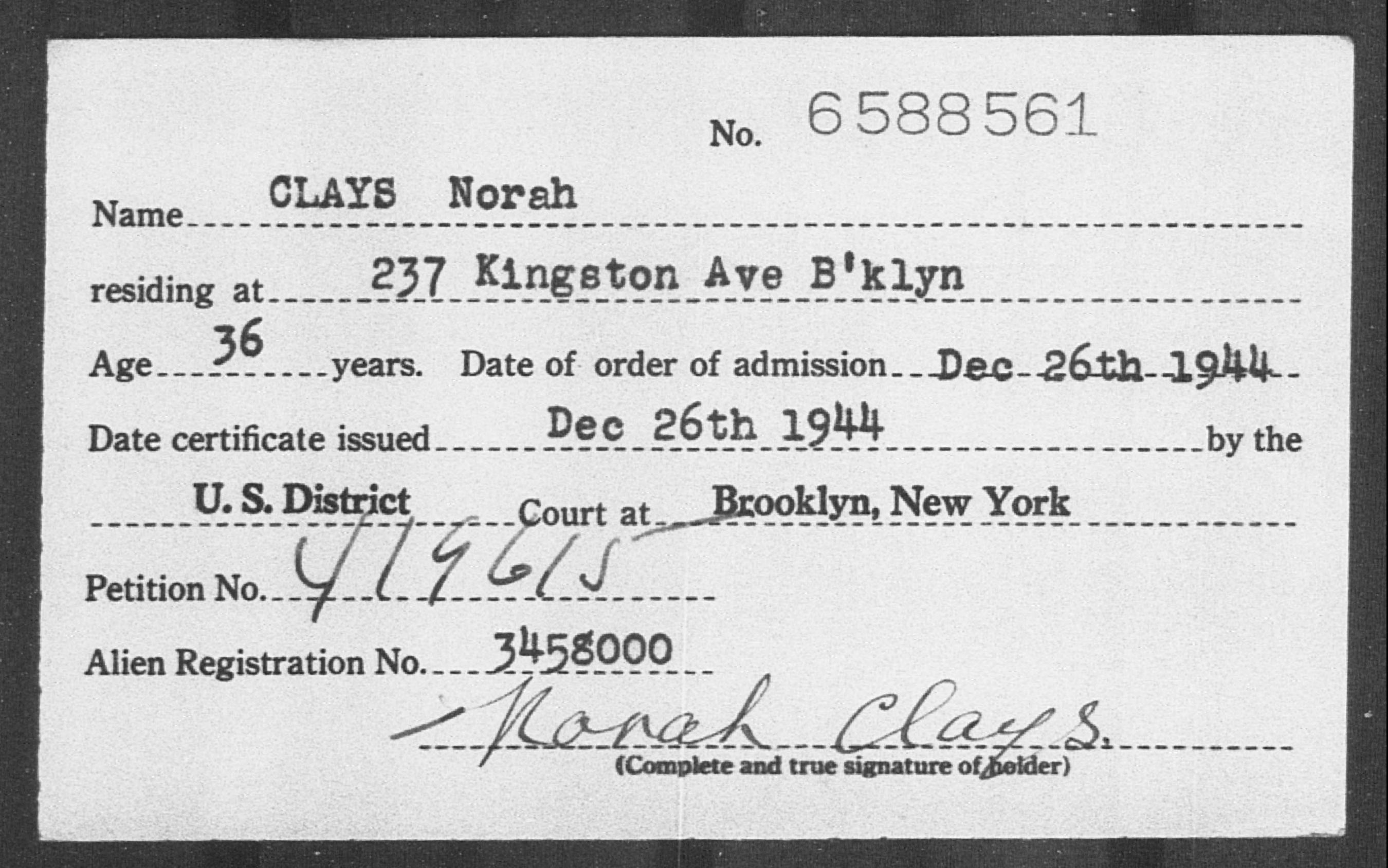 CLAYS Norah - Born: [BLANK], Naturalized: 1944