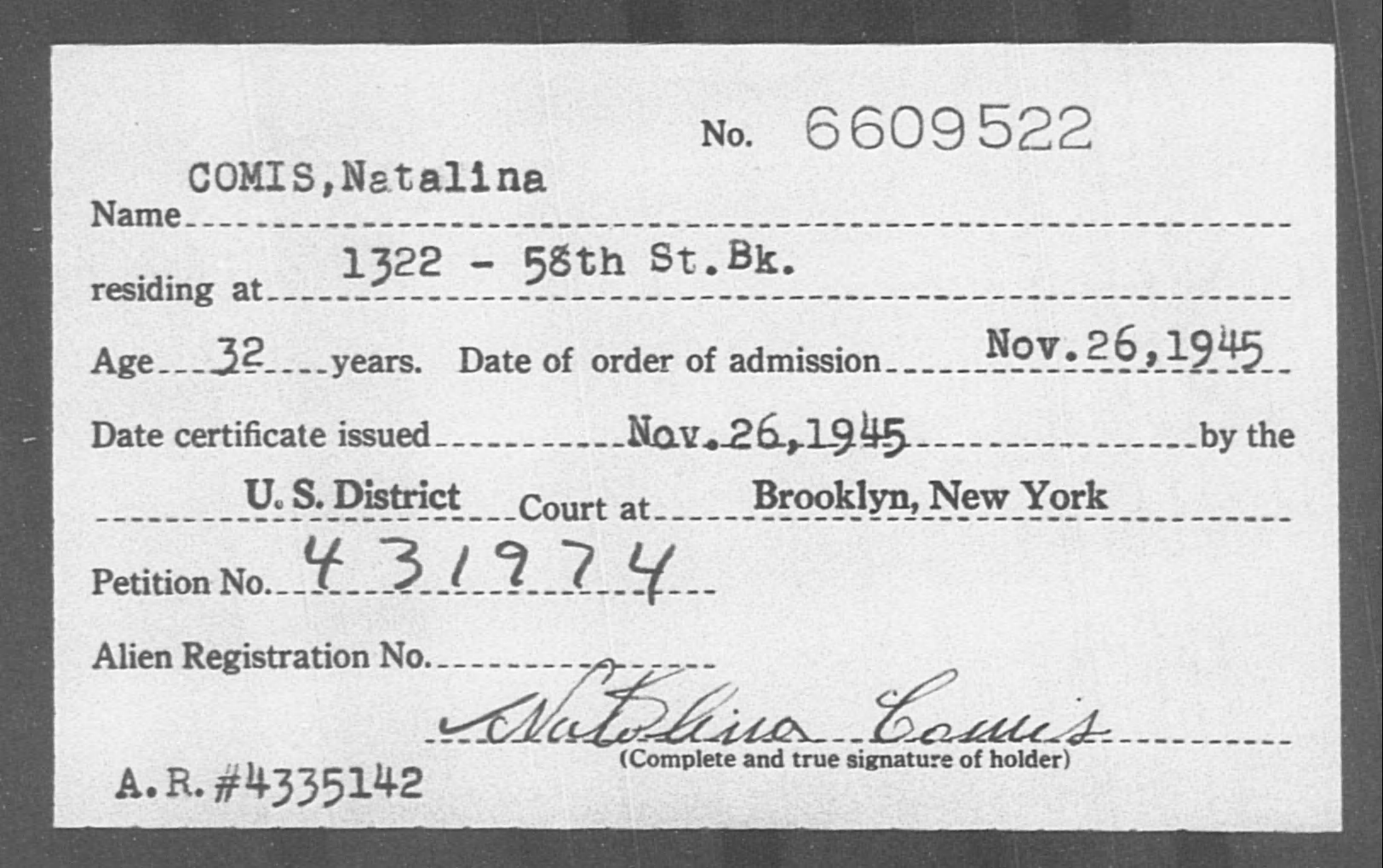 COMIS, Natalina - Born: [BLANK], Naturalized: 1945