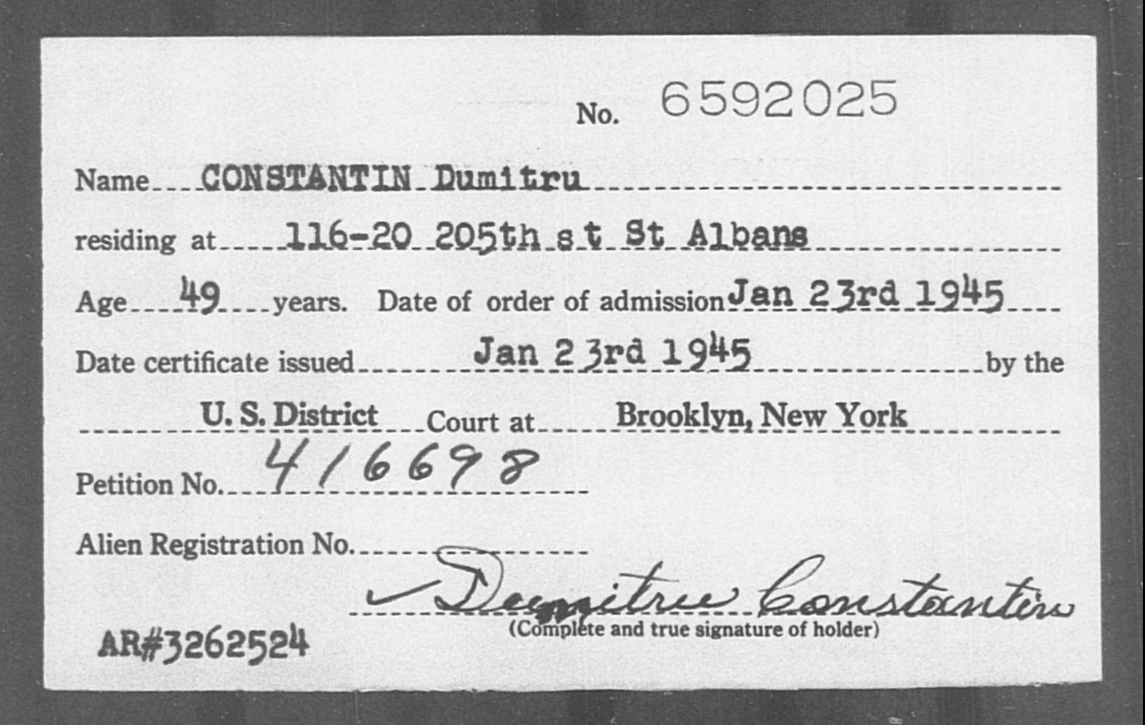 CONSTANTIN Dumitru - Born: [BLANK], Naturalized: 1945