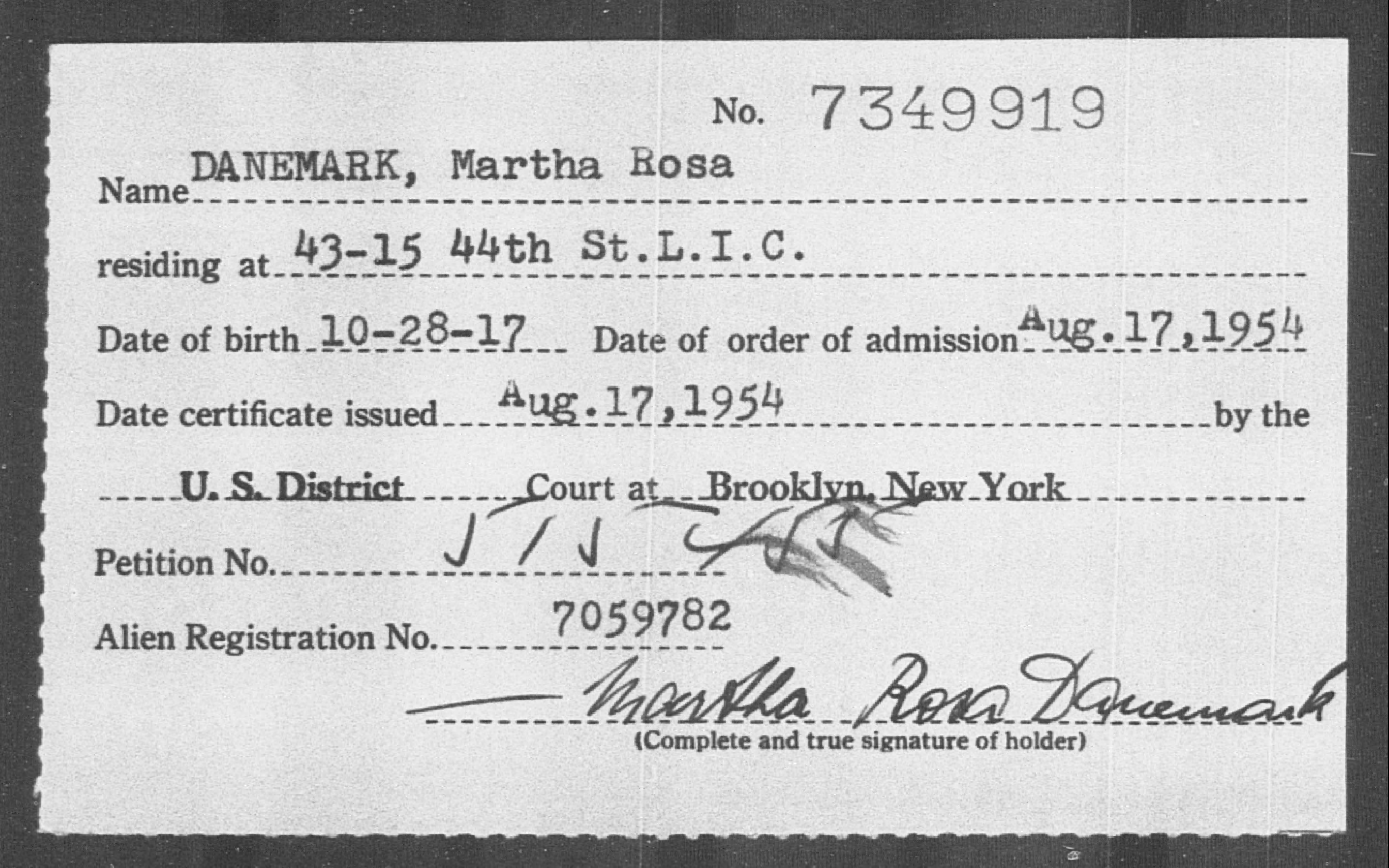 DANEMARK, Martha Rosa - Born: 1917, Naturalized: 1954
