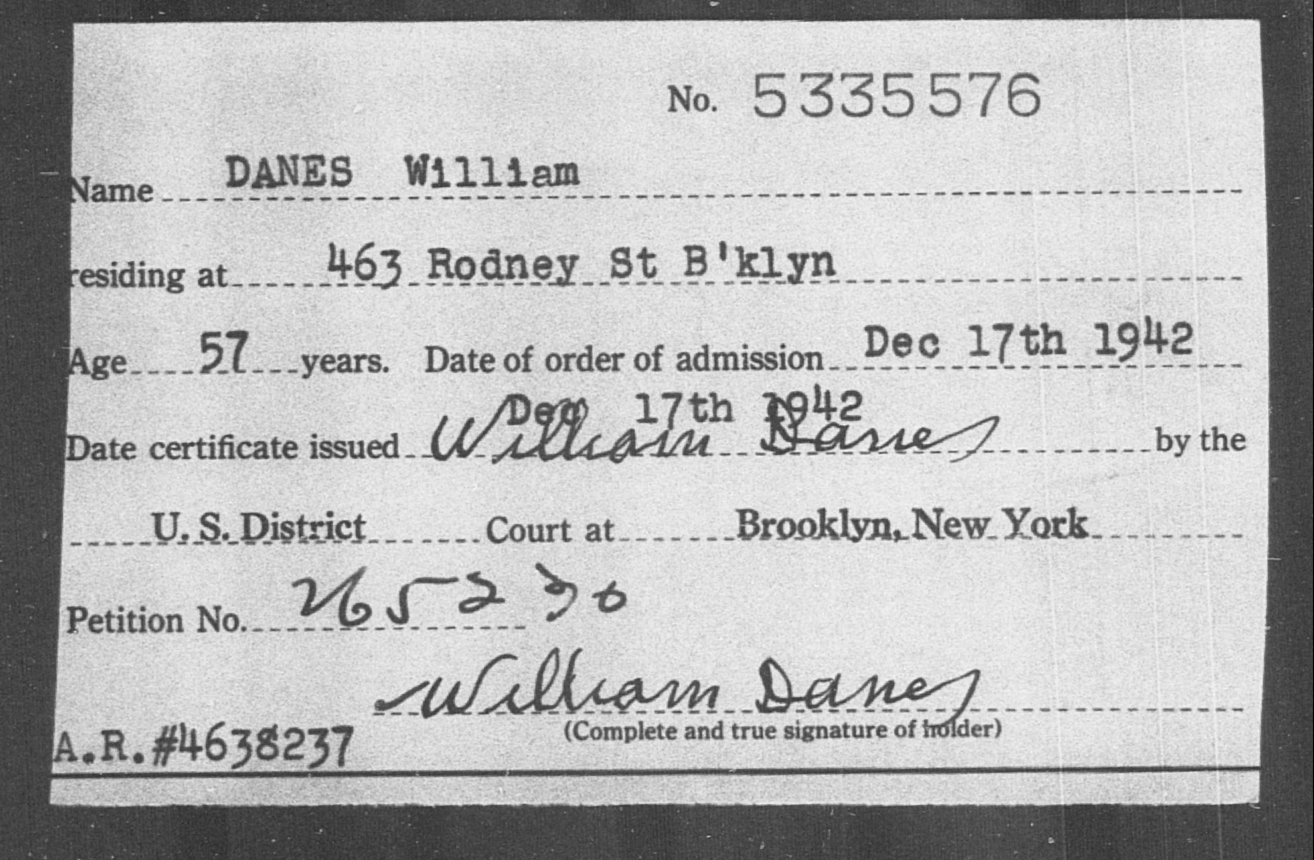 DANES William - Born: [BLANK], Naturalized: 1942