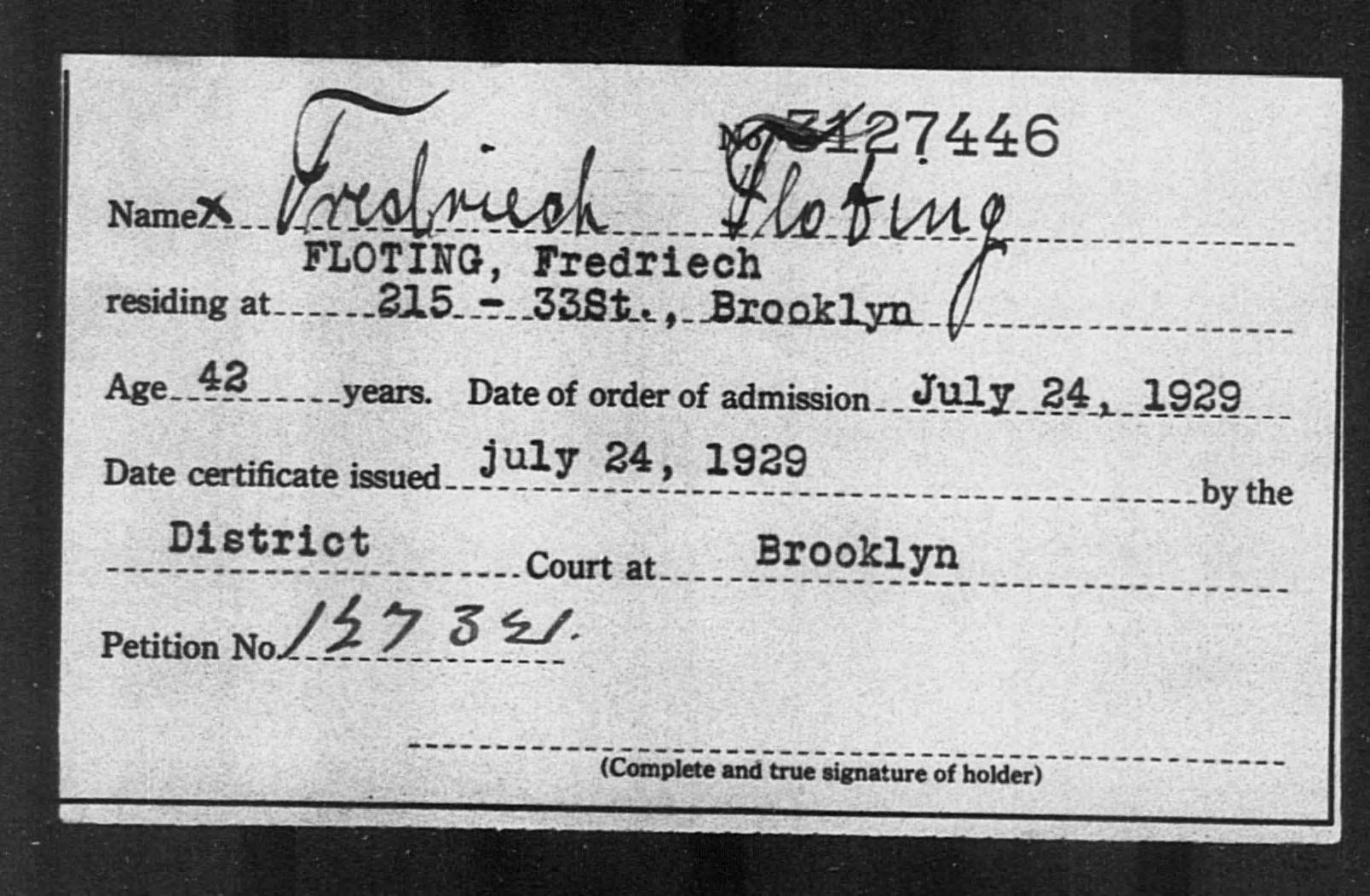FLOTING, Fredriech - Born: [BLANK], Naturalized: 1929