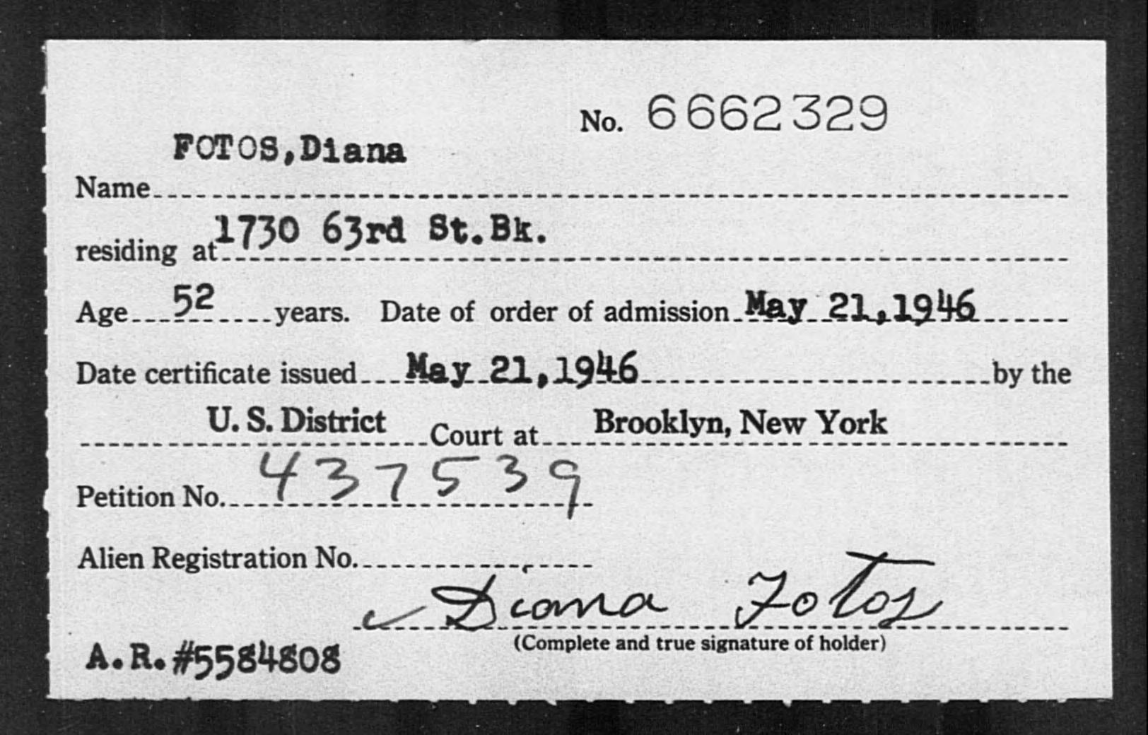 FOTOS, Diana - Born: [BLANK], Naturalized: 1946