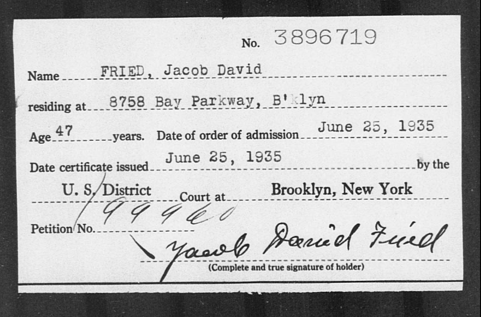 FRIED, Jacob David - Born: [BLANK], Naturalized: 1935