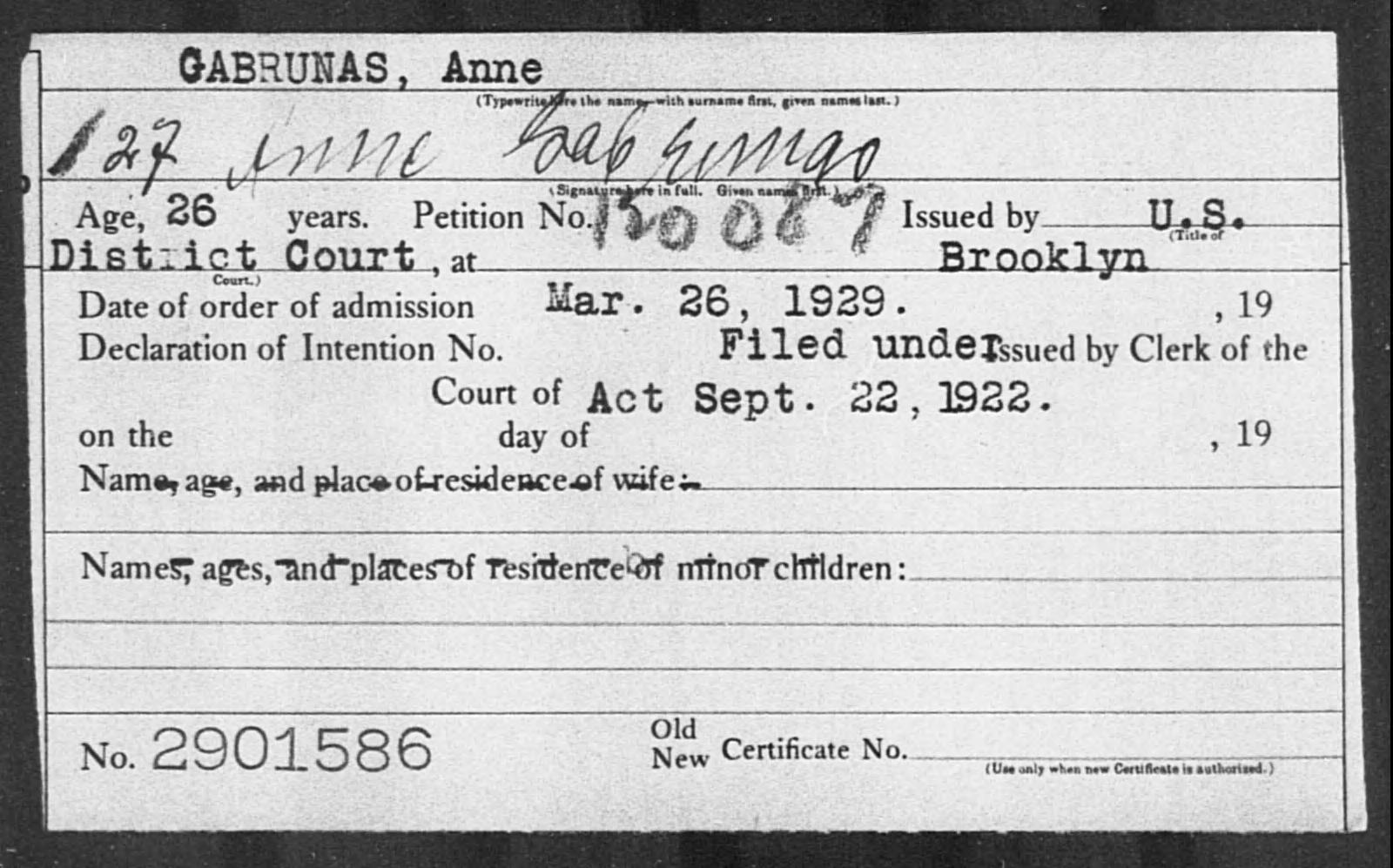 GABRUNAS, Anne - Born: [BLANK], Naturalized: 1929