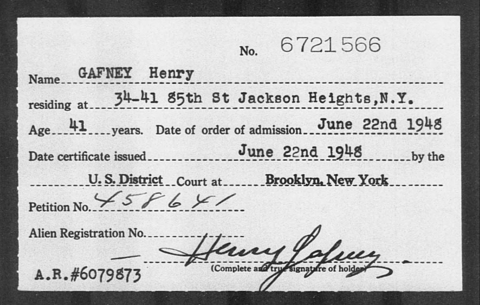 GAFNEY Henry - Born: [BLANK], Naturalized: 1948