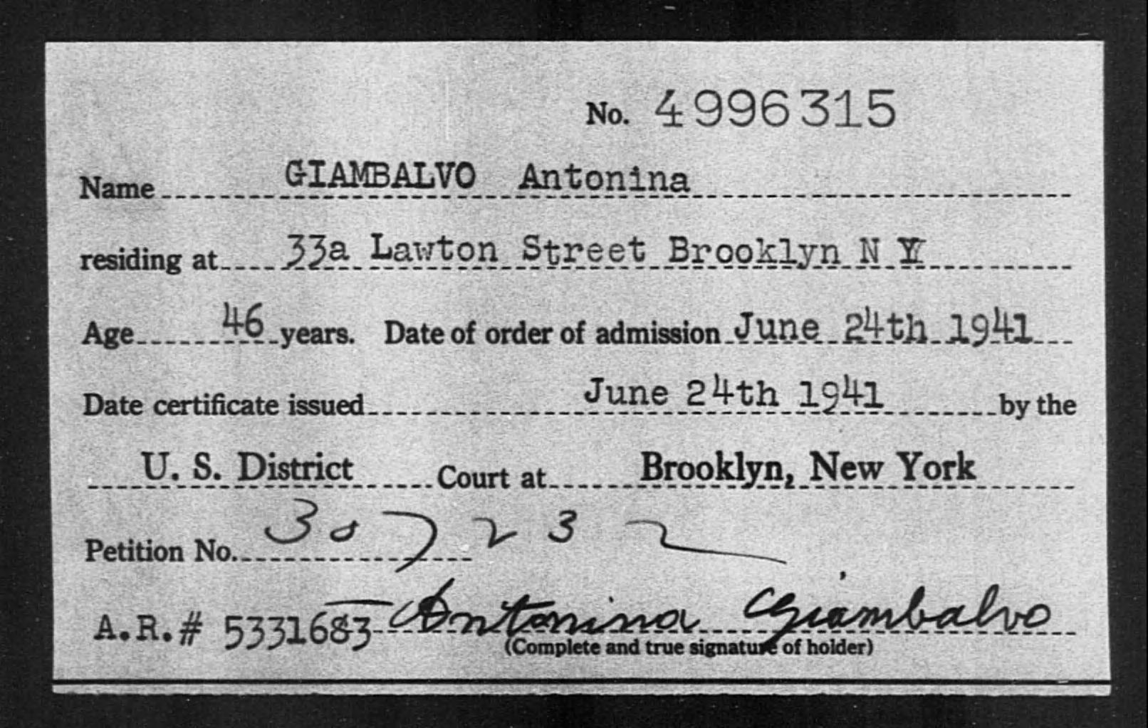 GIAMBALVO Antonina - Born: [BLANK], Naturalized: 1941