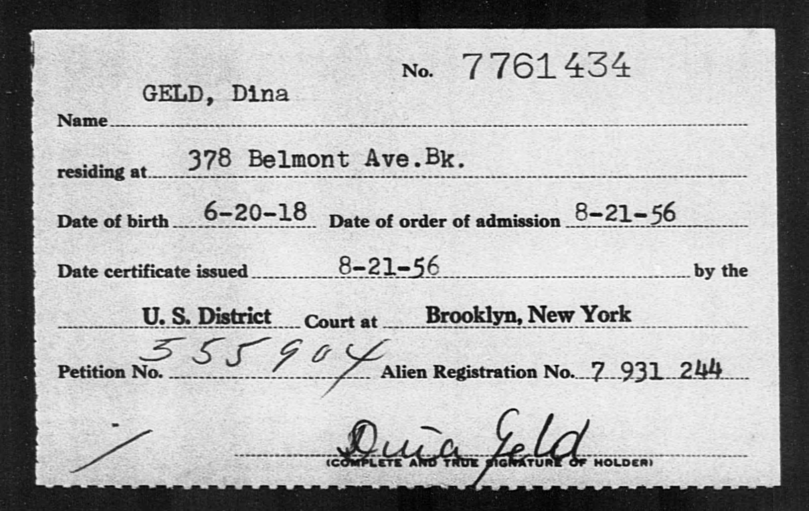 GELD, Dina - Born: 1918, Naturalized: 1956