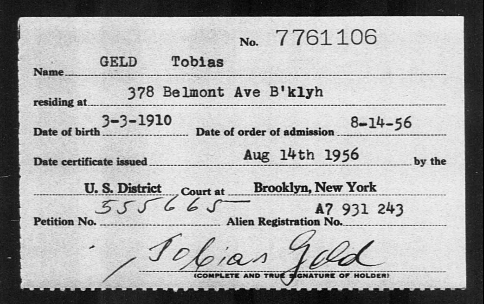 GELD Tobias - Born: 1910, Naturalized: 1956
