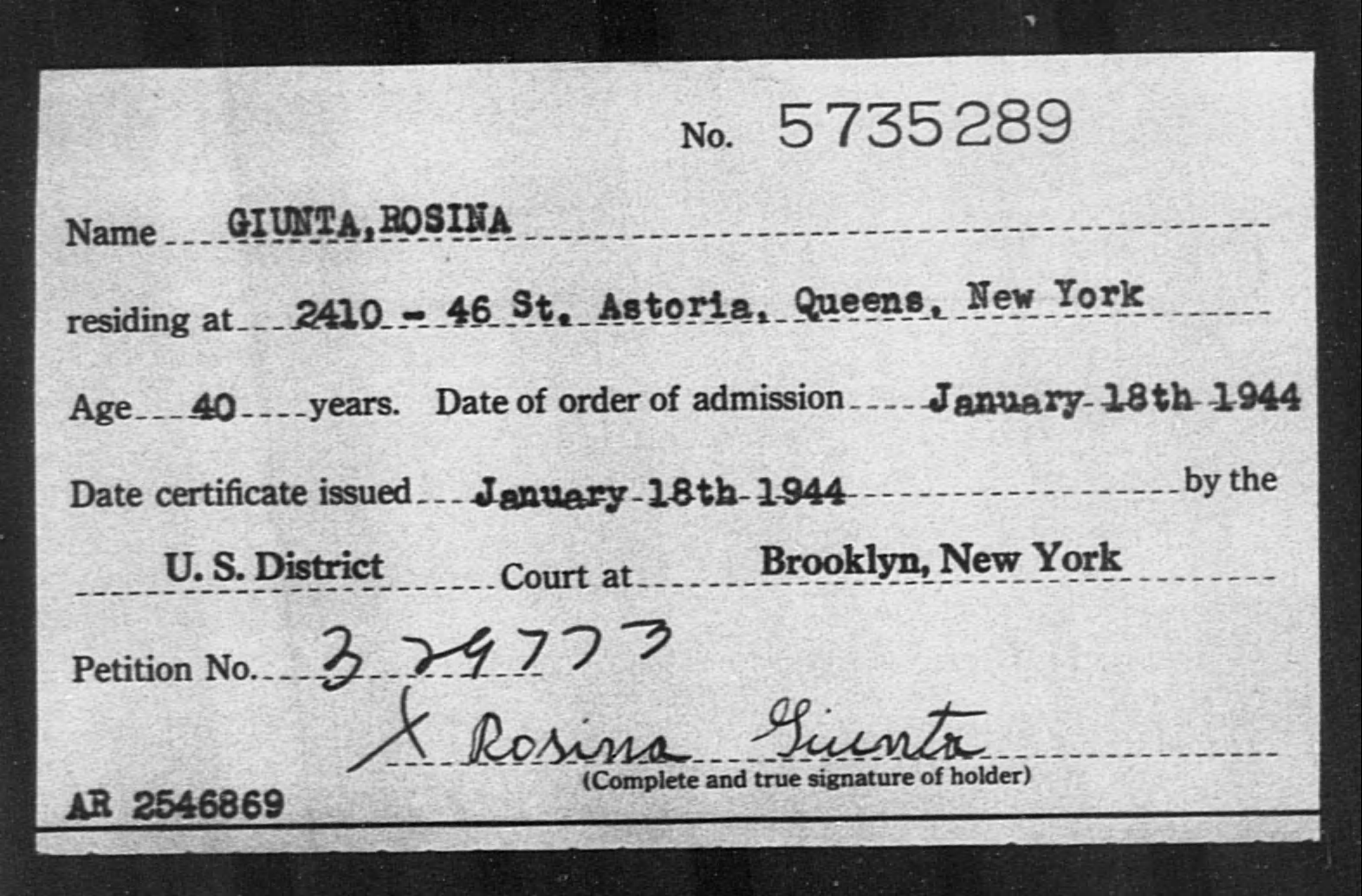 GIUNTA, ROSINA - Born: [BLANK], Naturalized: 1944