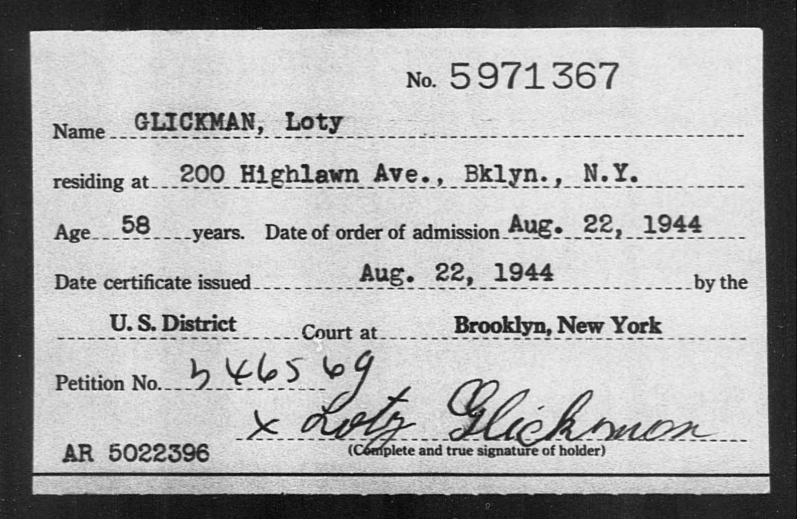 GLICKMAN, Loty - Born: [BLANK], Naturalized: 1944