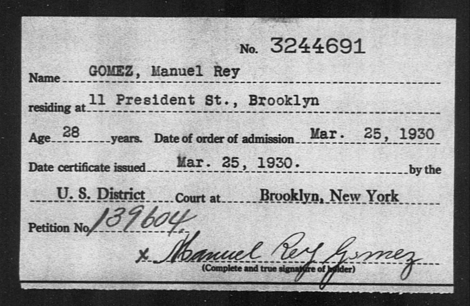 GOMEZ, Manuel Rey - Born: [BLANK], Naturalized: 1930
