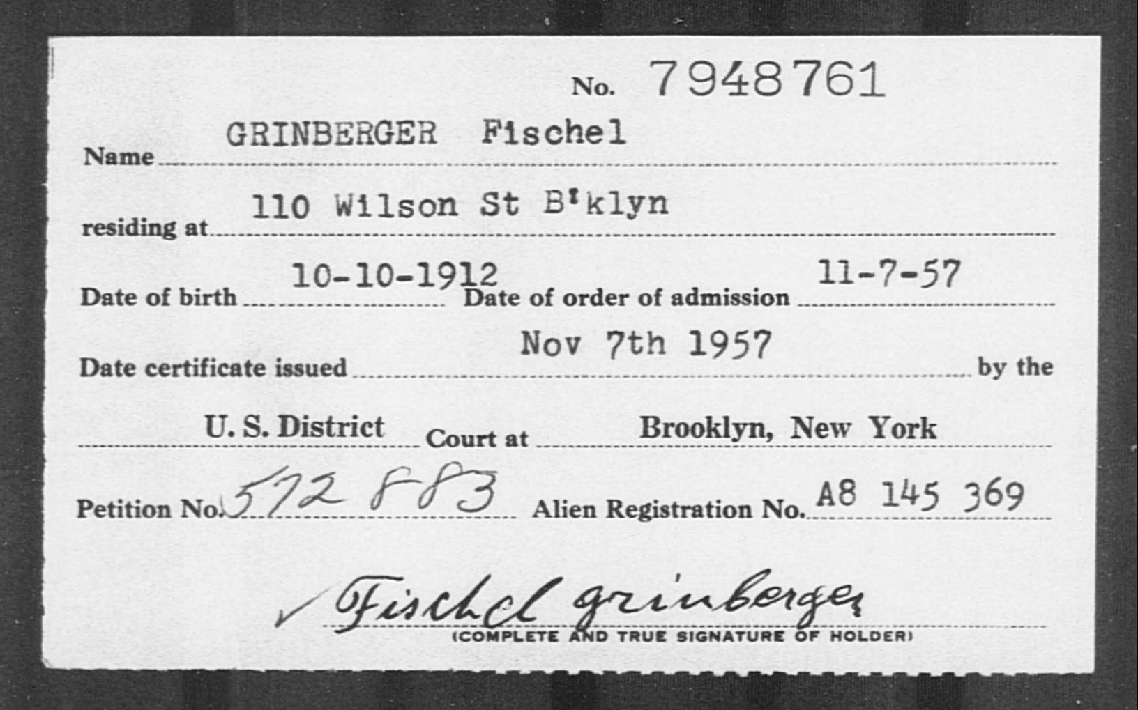 GRINBERGER Fischel - Born: 1912, Naturalized: 1957
