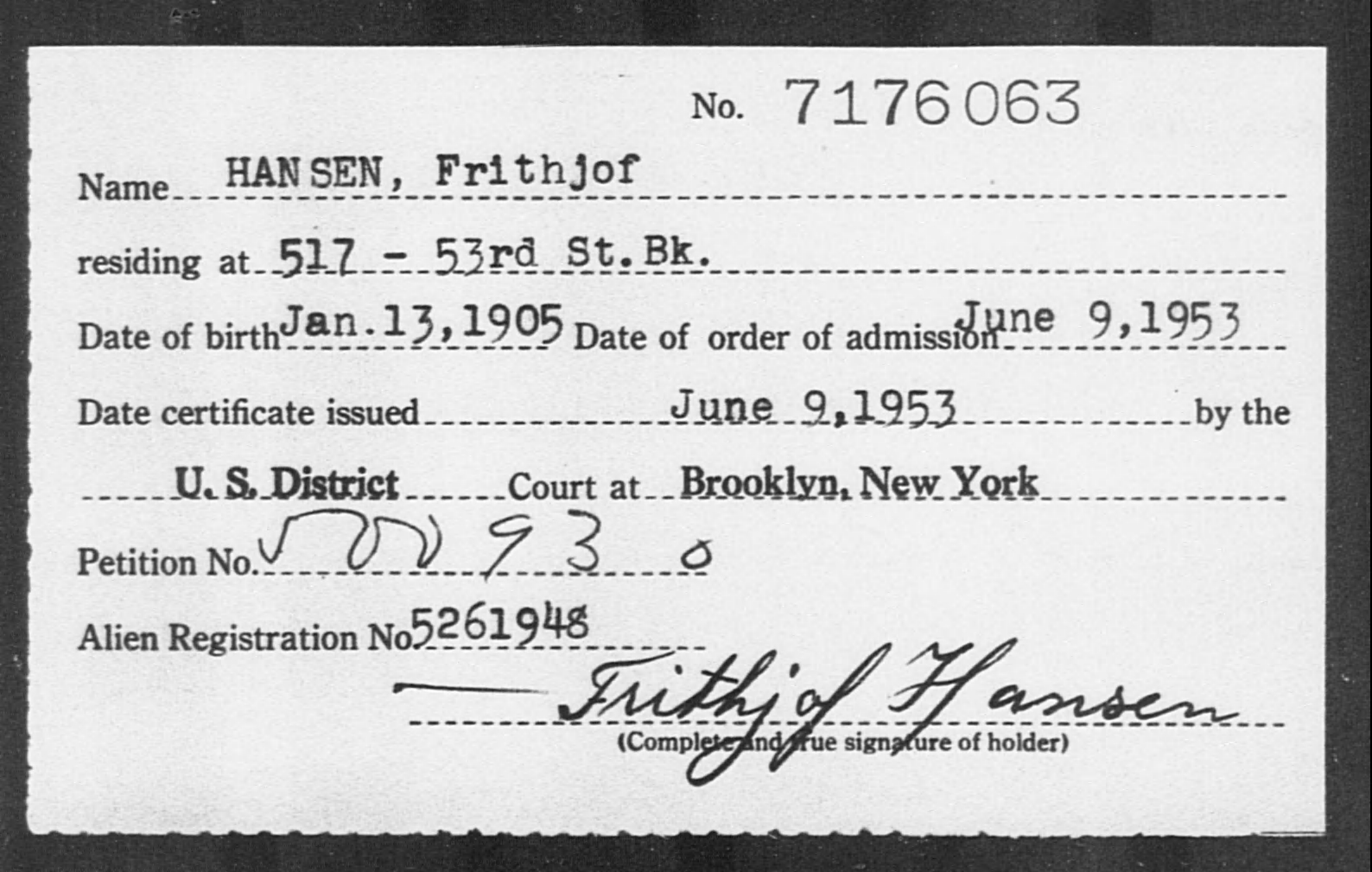 HANSEN, Frithjof - Born: 1905, Naturalized: 1953