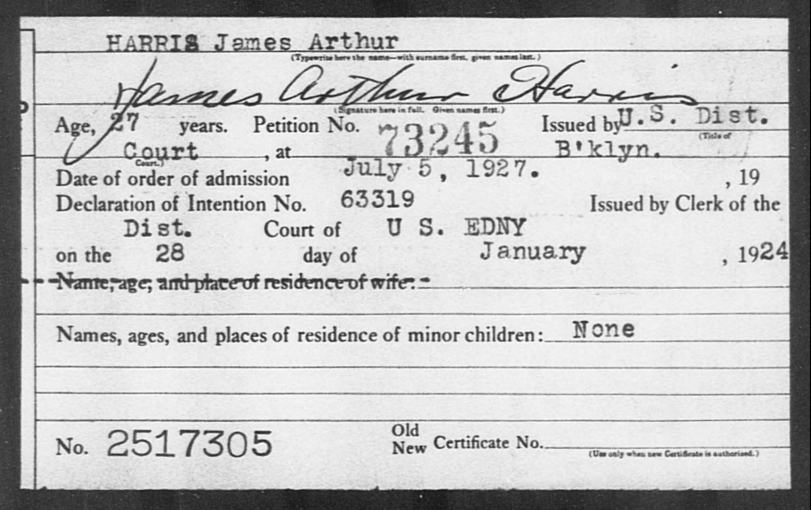 HARRIS James Arthur - Born: [BLANK], Naturalized: 1927